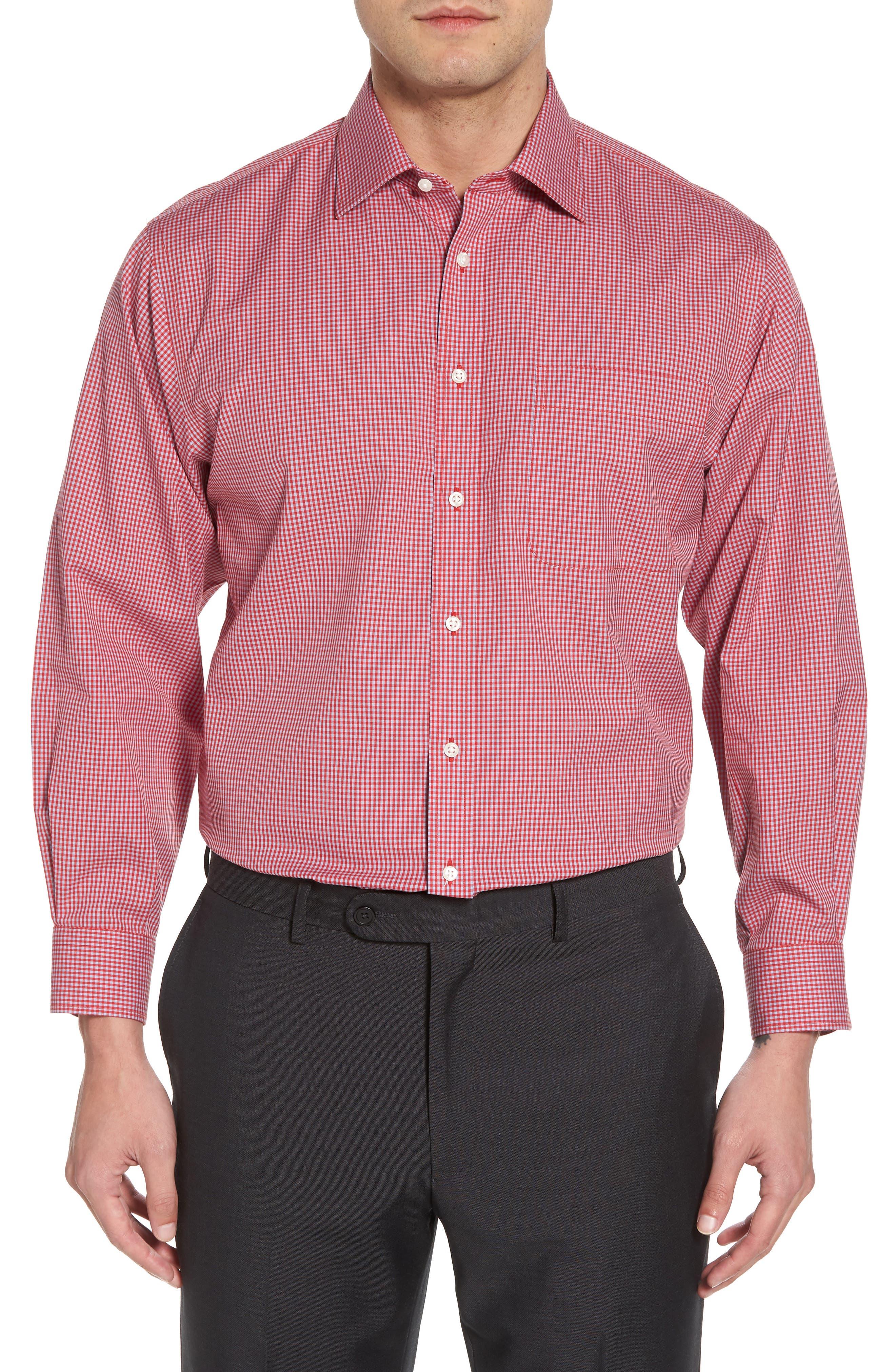 Smartcare Classic Fit Check Dress Shirt,                         Main,                         color, Red Barbados