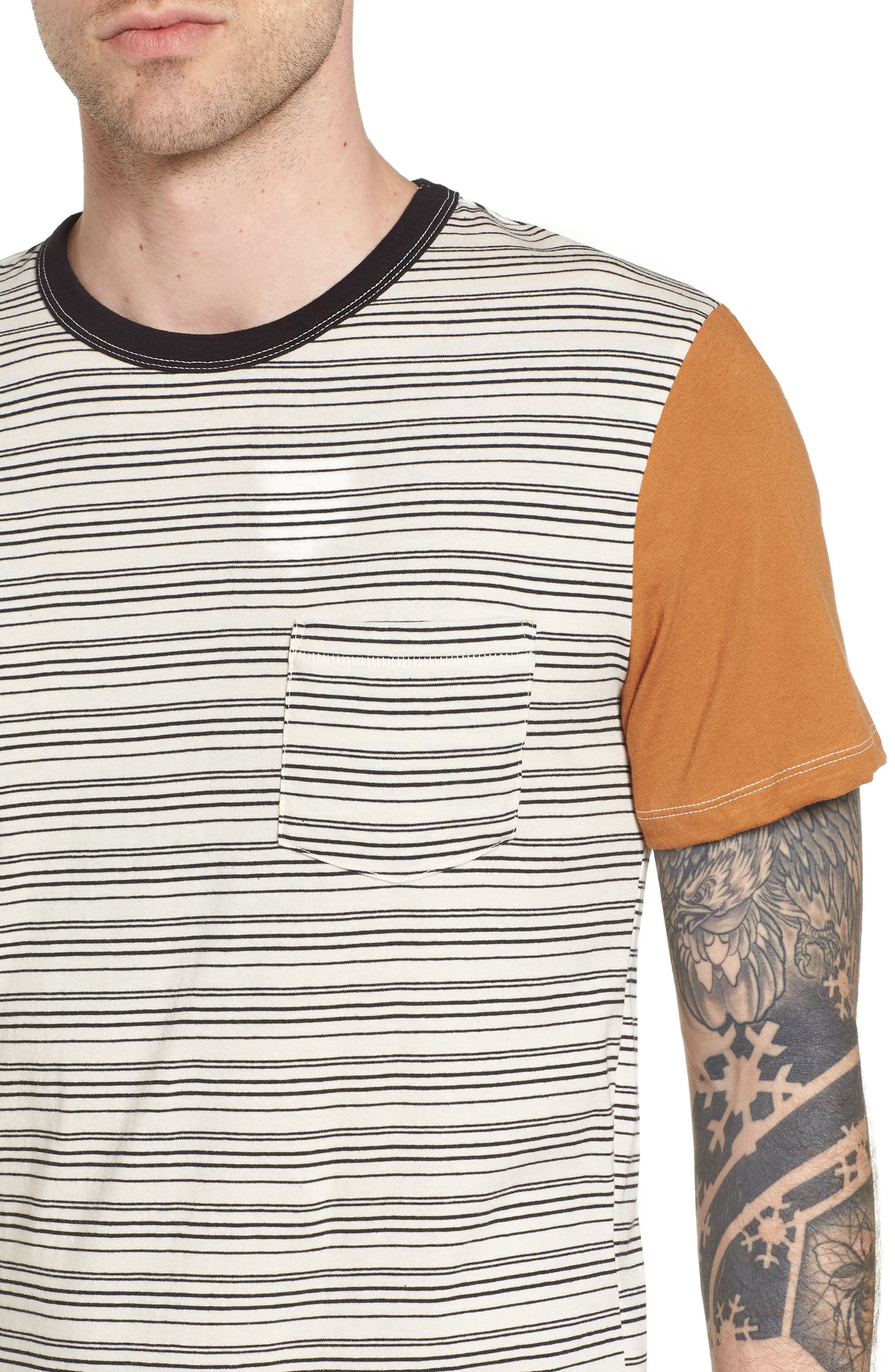 Blocked Ringer T-Shirt,                             Alternate thumbnail 4, color,                             Ivory Black Block Stripe
