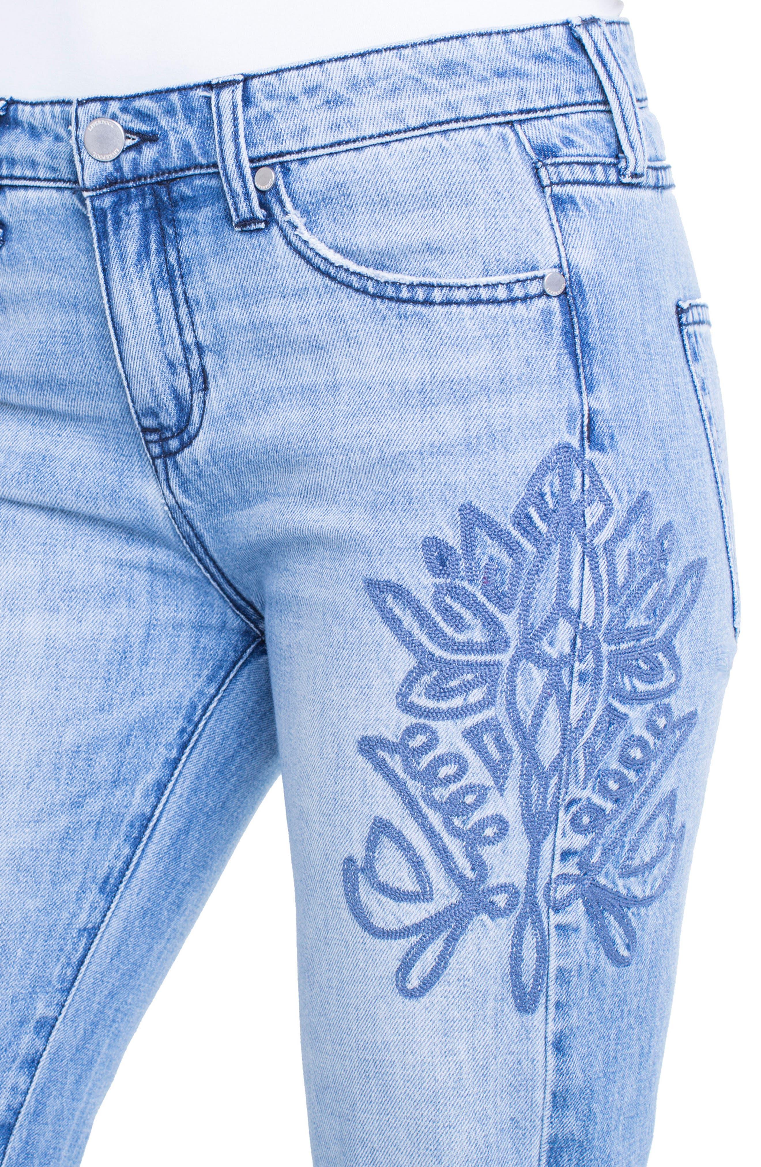 Cameron Embroidered Crop Boyfriend Jeans,                             Alternate thumbnail 6, color,                             Skyline
