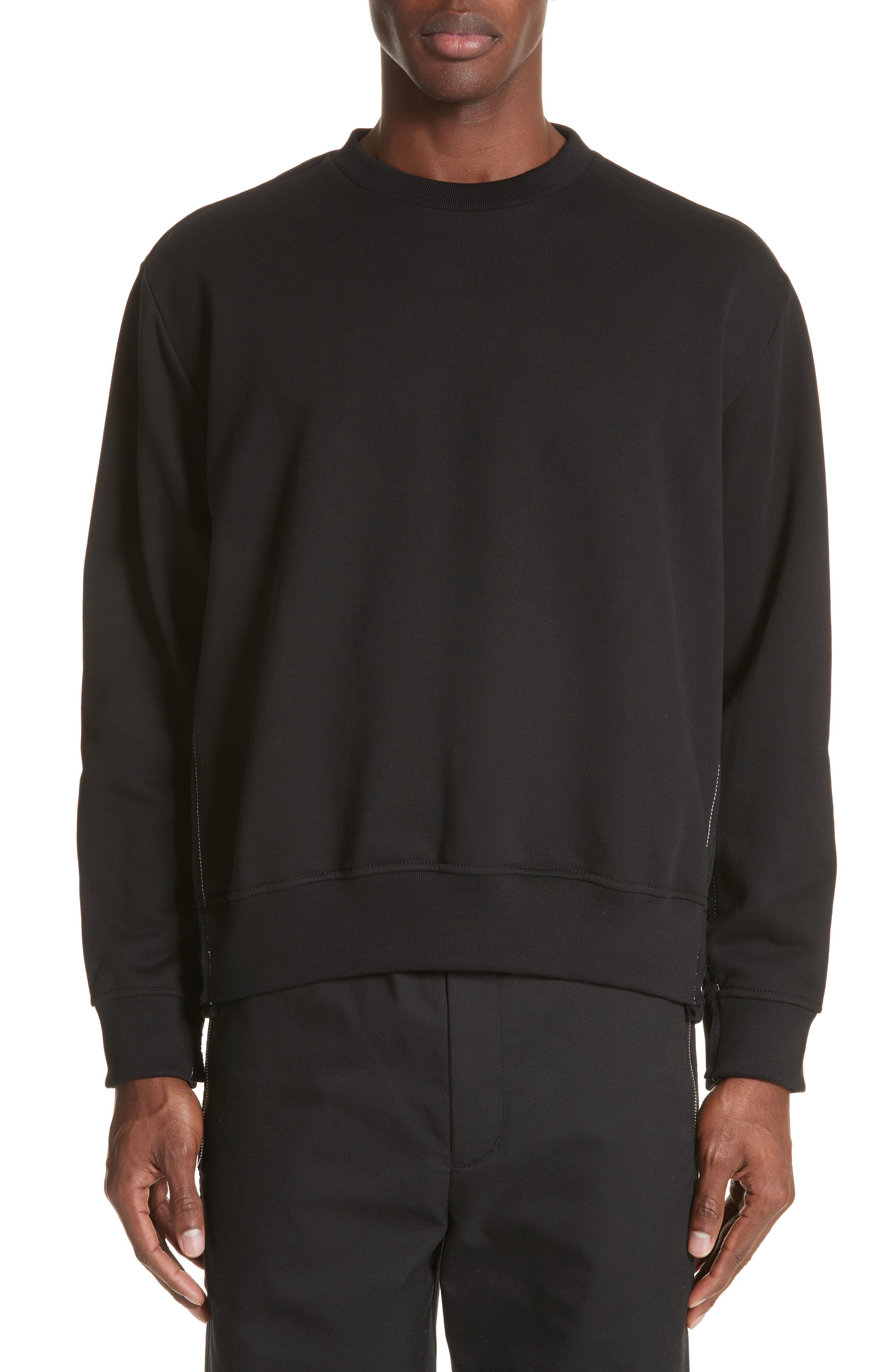 Reconstructed Crewneck Sweatshirt,                             Main thumbnail 1, color,                             Black