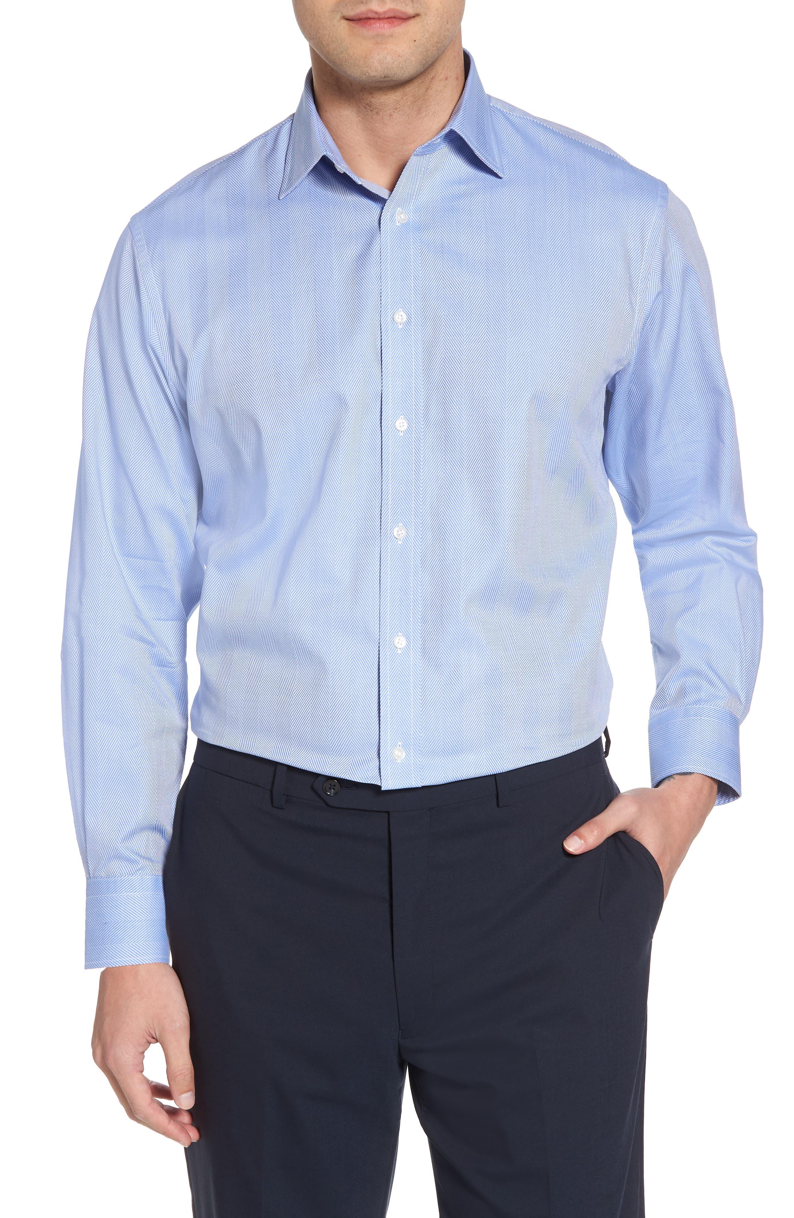 Traditional Fit Herringbone Dress Shirt,                         Main,                         color, Blue Provence