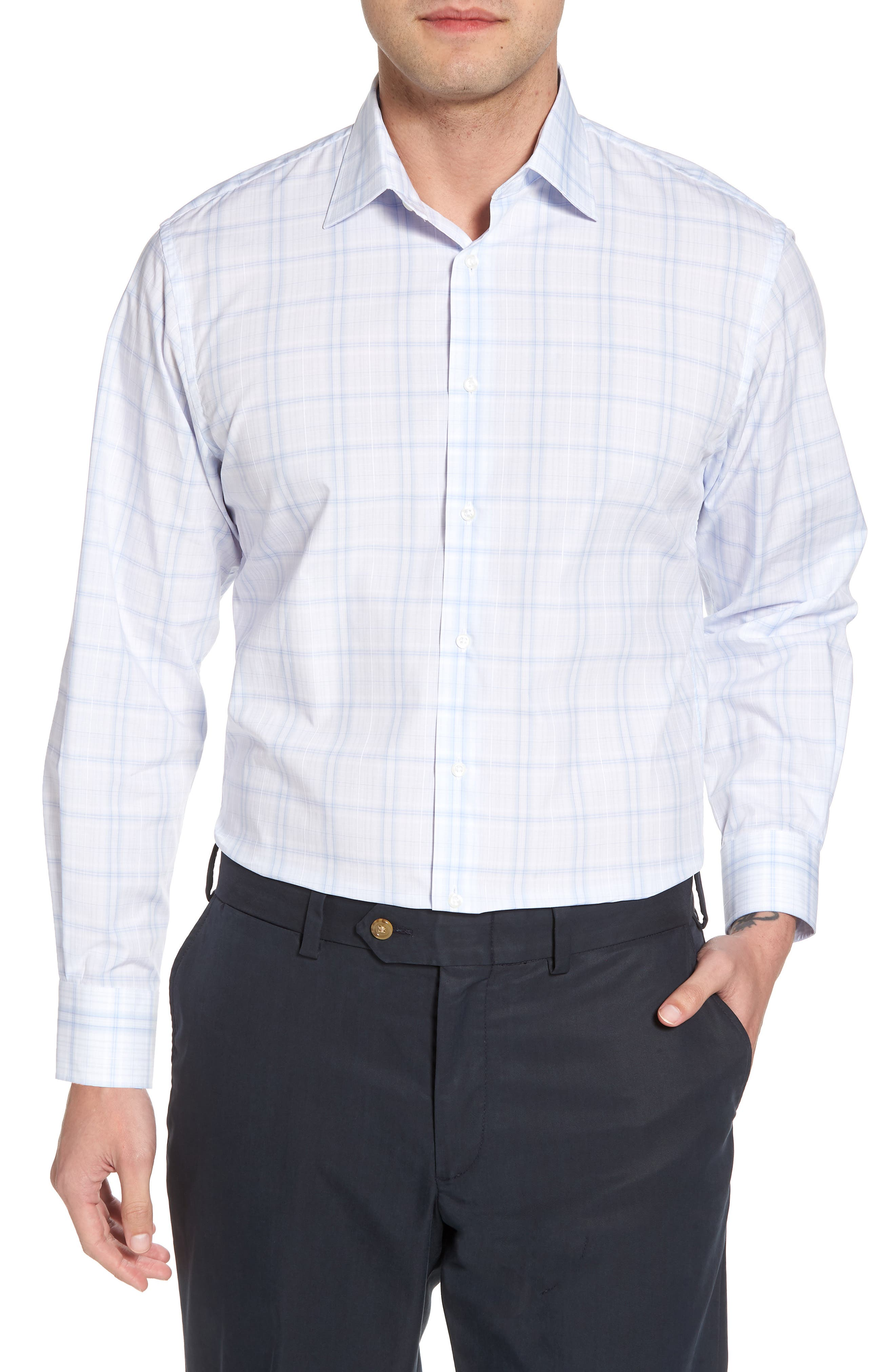 Traditional Fit Check Dress Shirt,                         Main,                         color, Blue Xenon