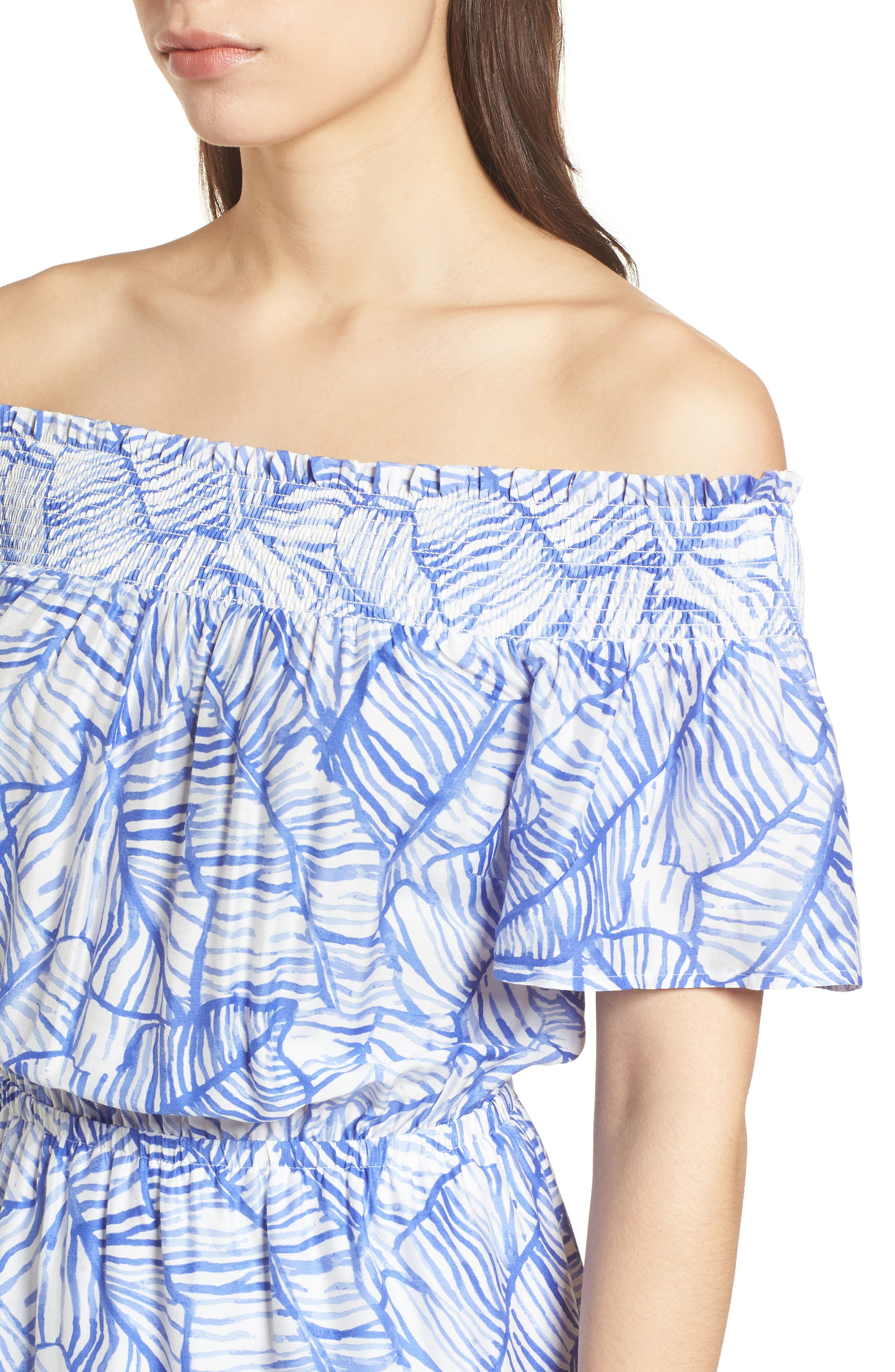 Banana Leaf High/Low Maxi Dress,                             Alternate thumbnail 4, color,                             Marlin