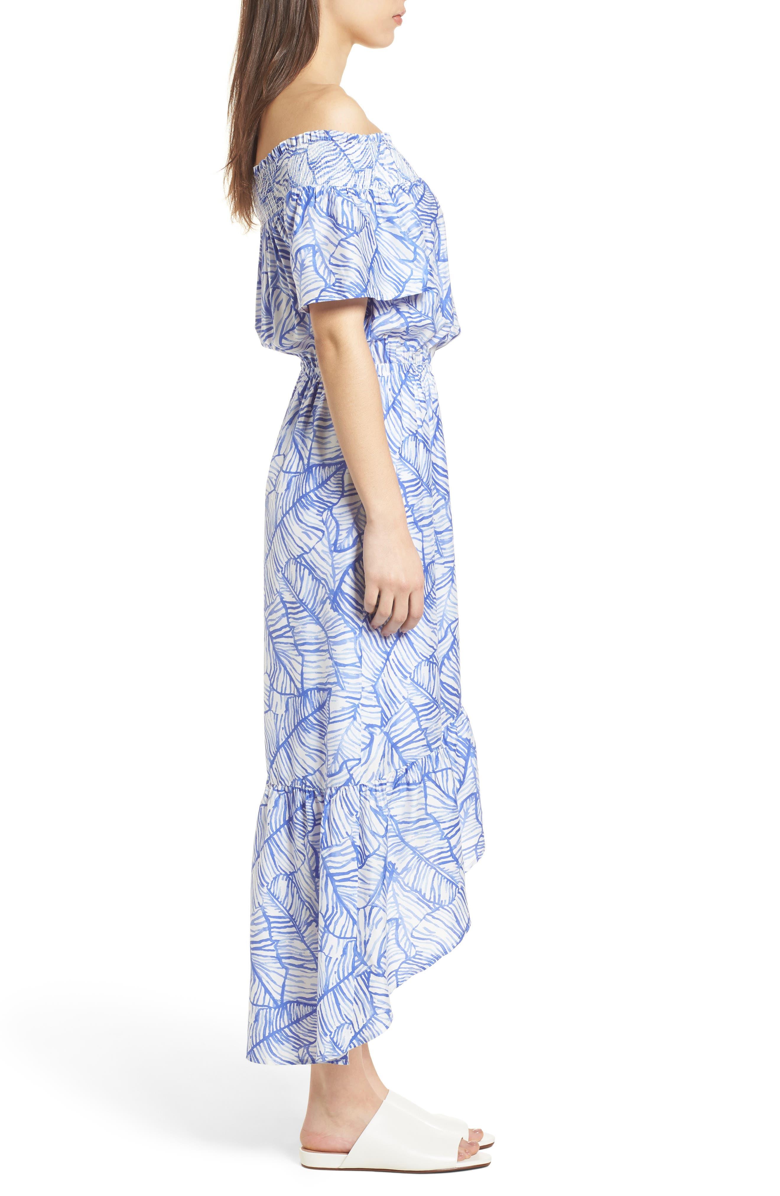 Banana Leaf High/Low Maxi Dress,                             Alternate thumbnail 3, color,                             Marlin