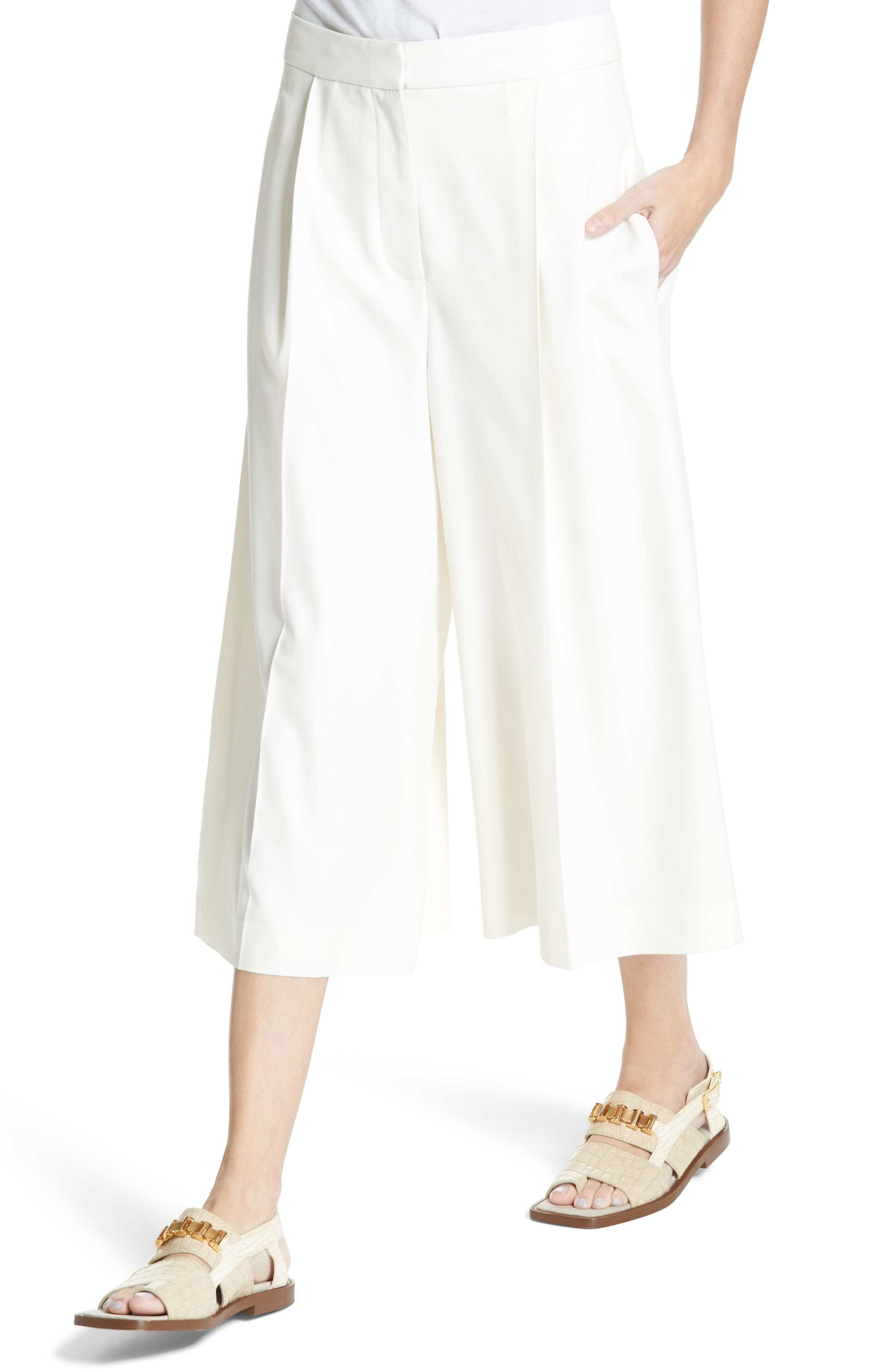 Wool Twill Culottes,                             Alternate thumbnail 5, color,                             Cream