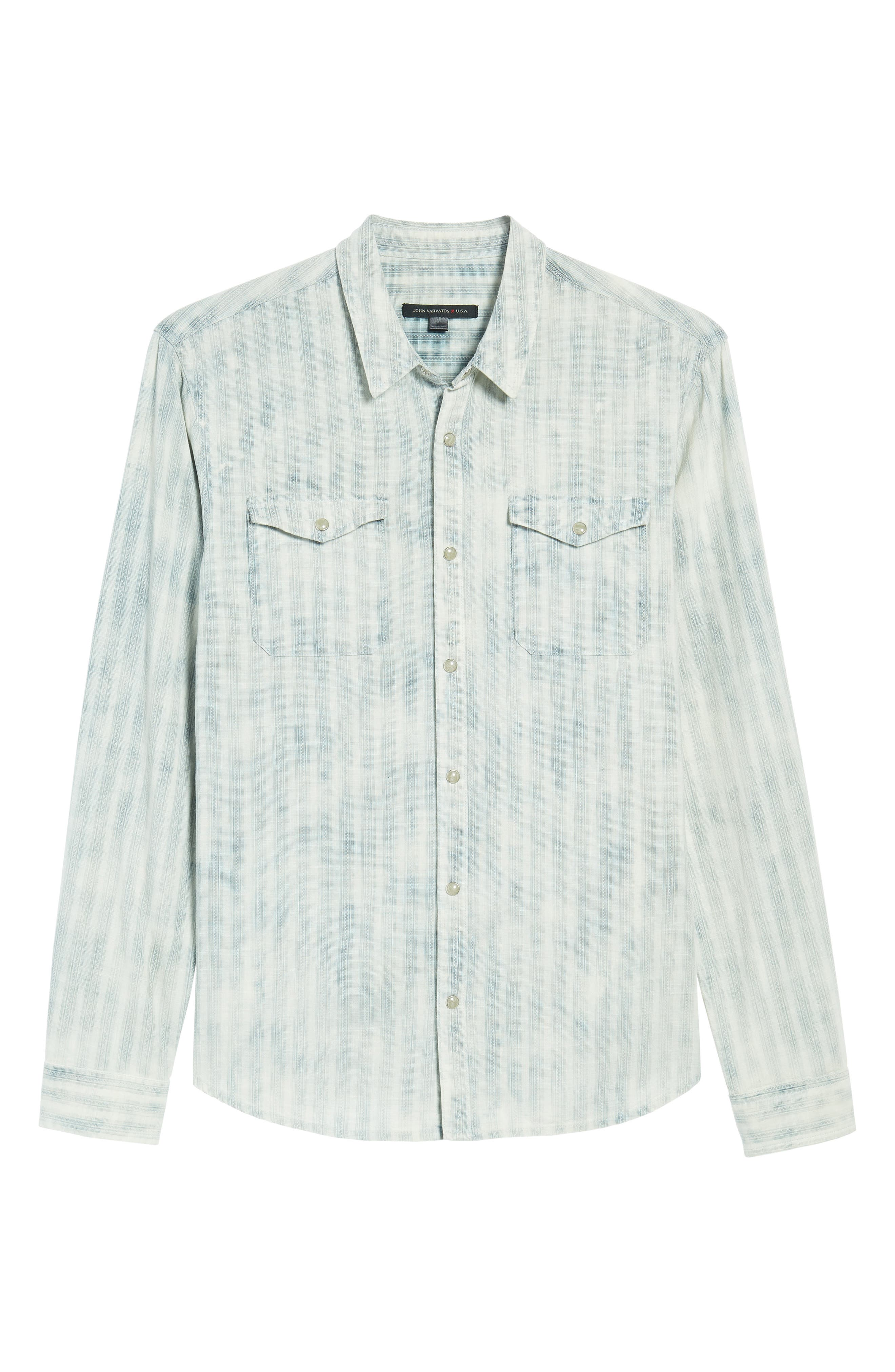 Extra Slim Fit Western Shirt,                             Alternate thumbnail 6, color,                             Reflection Grey