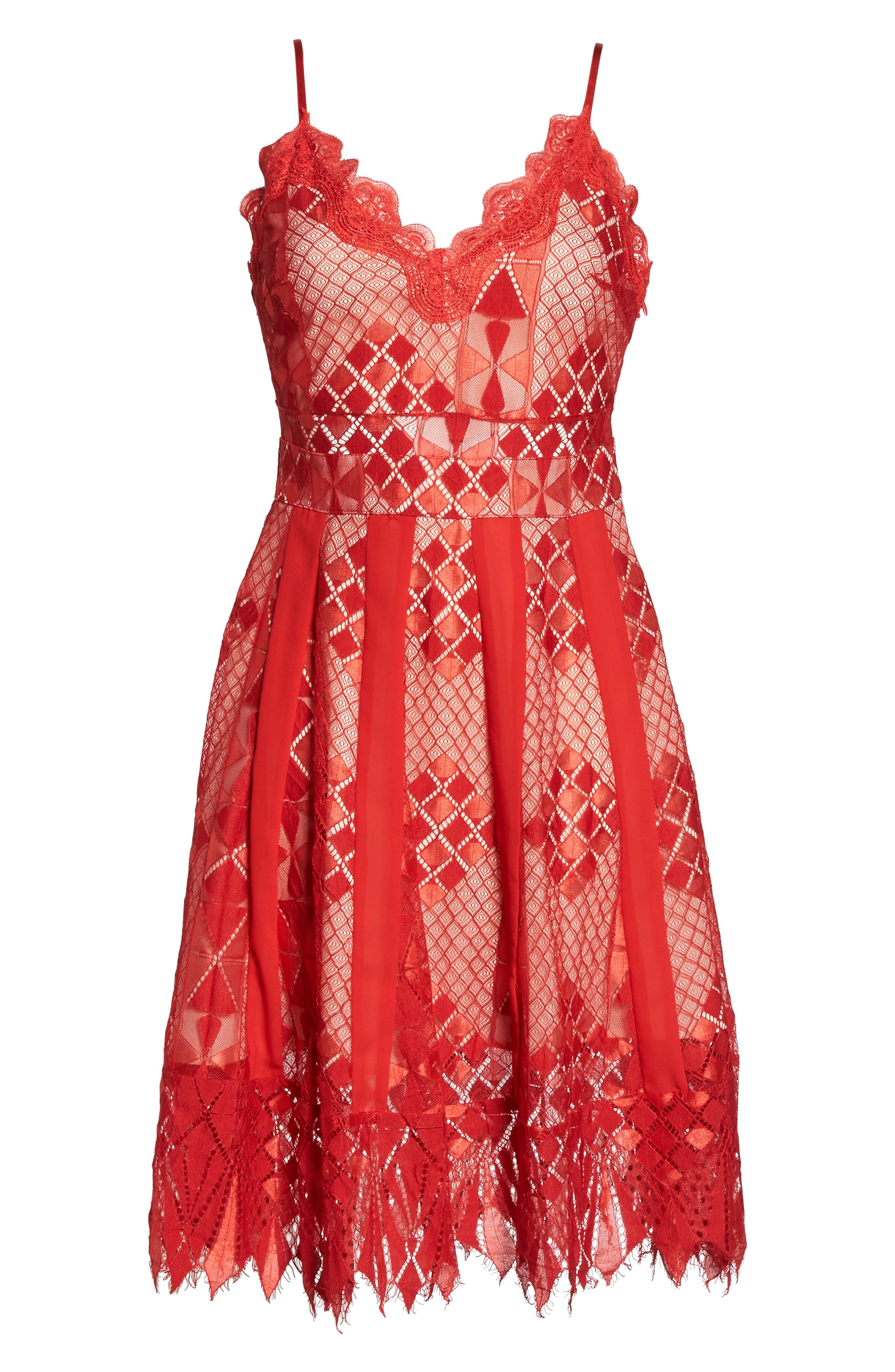 Calla Geometric Lace Dress,                             Alternate thumbnail 6, color,                             Red