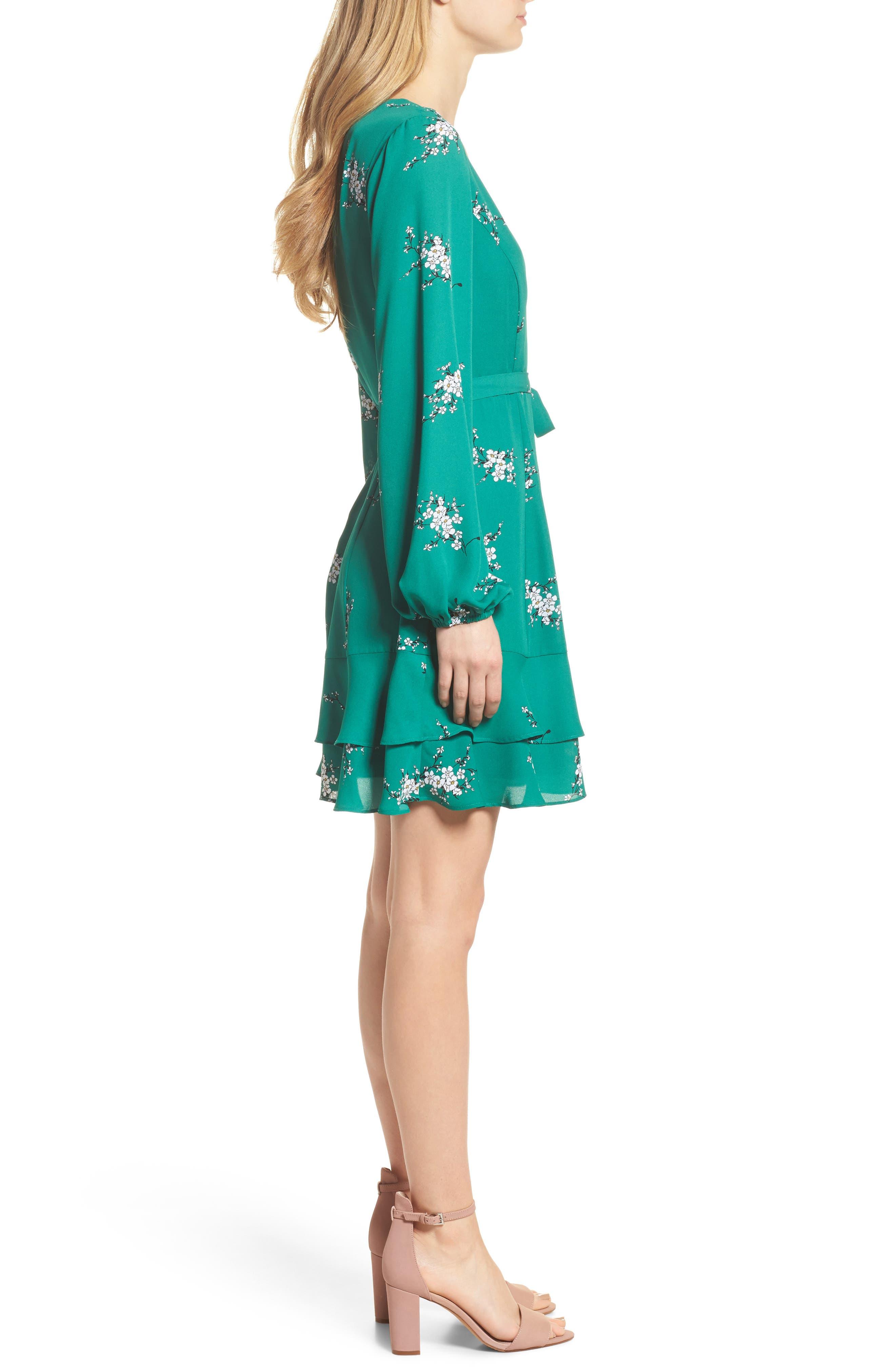 Floral Faux Wrap Dress,                             Alternate thumbnail 3, color,                             Green Branch Floral
