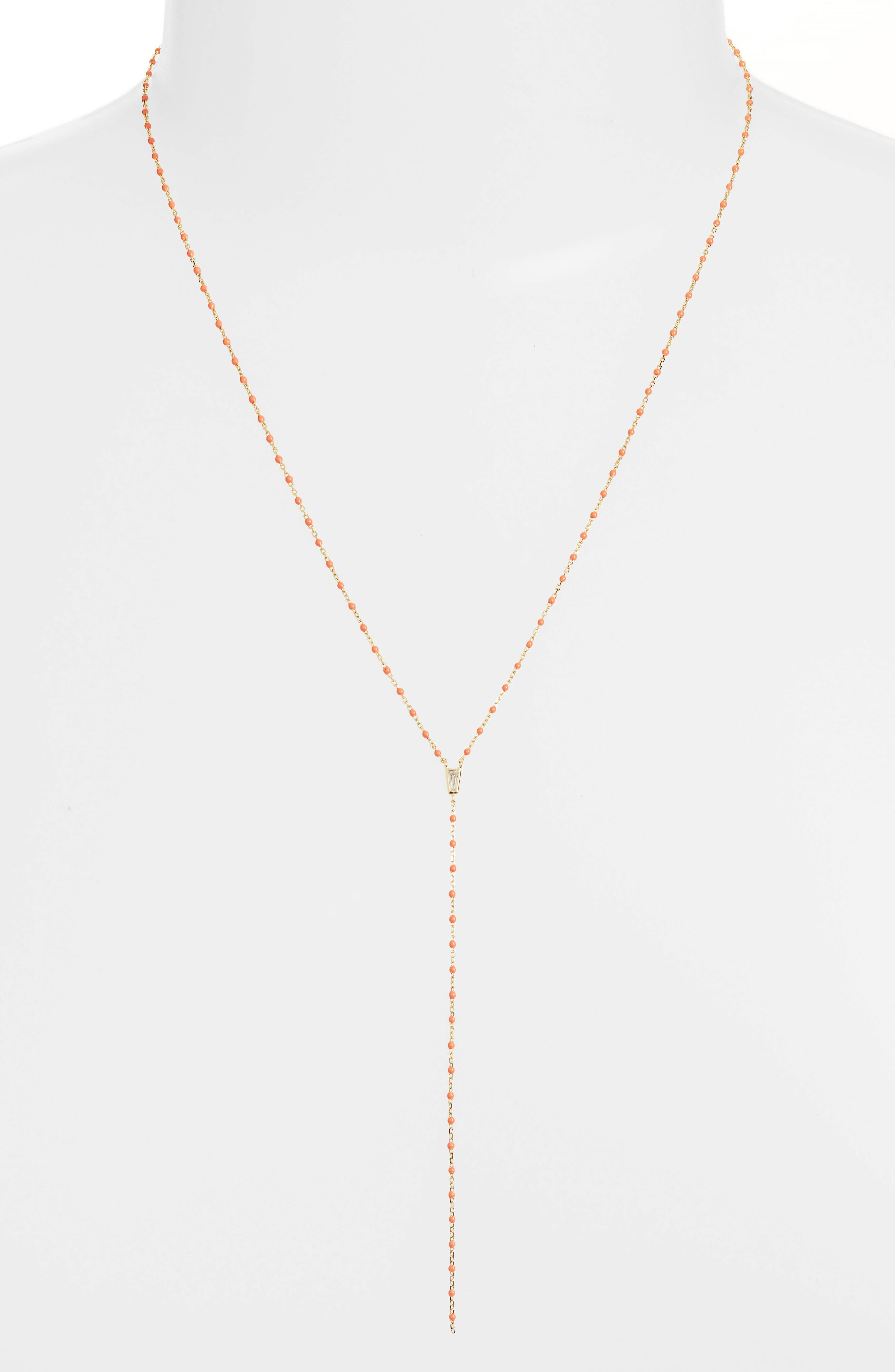 Beaded Lariat Necklace,                             Main thumbnail 1, color,                             Gold/ Coral