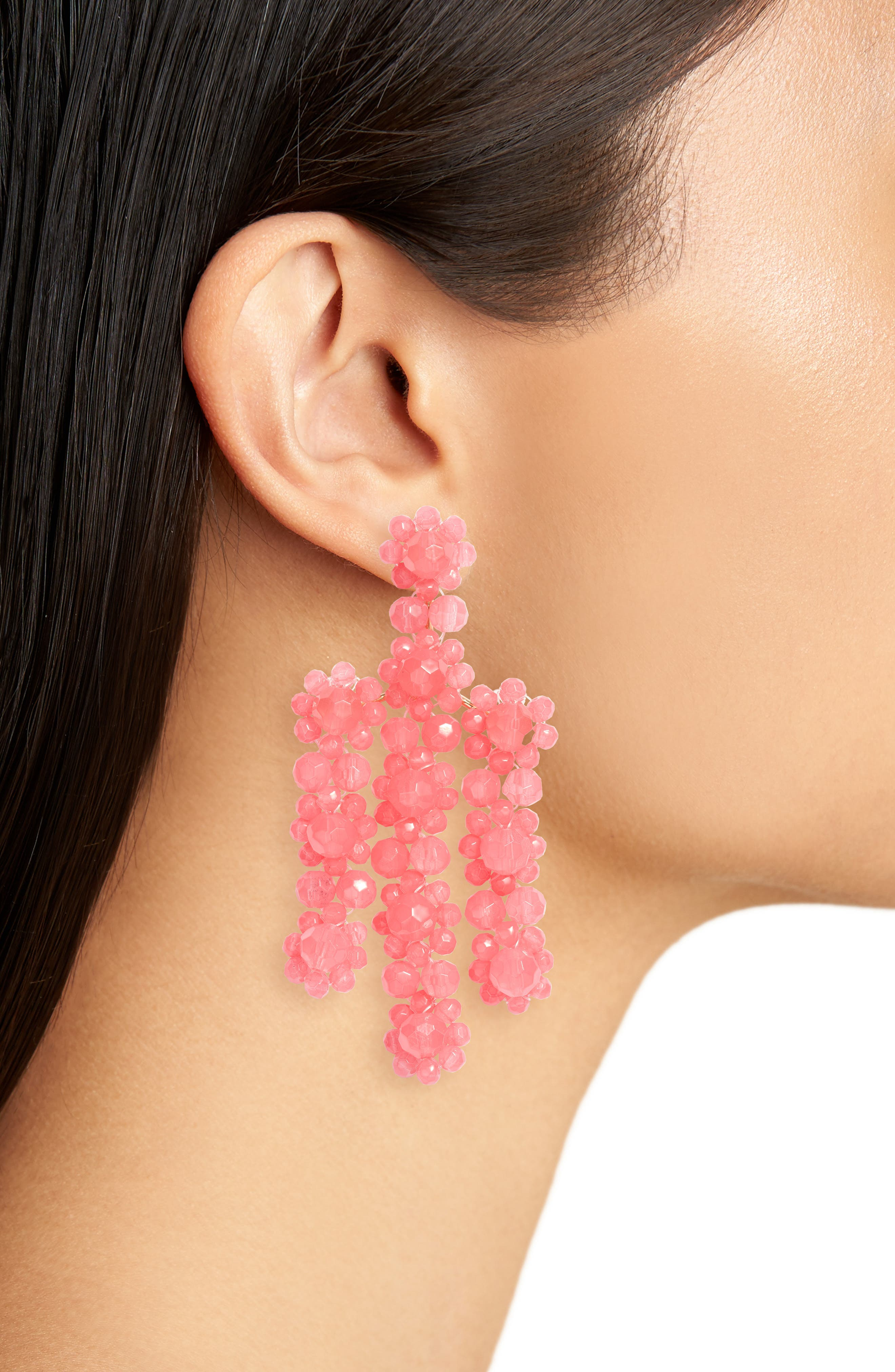 the bead goes on statement earrings,                             Alternate thumbnail 2, color,                             Pink