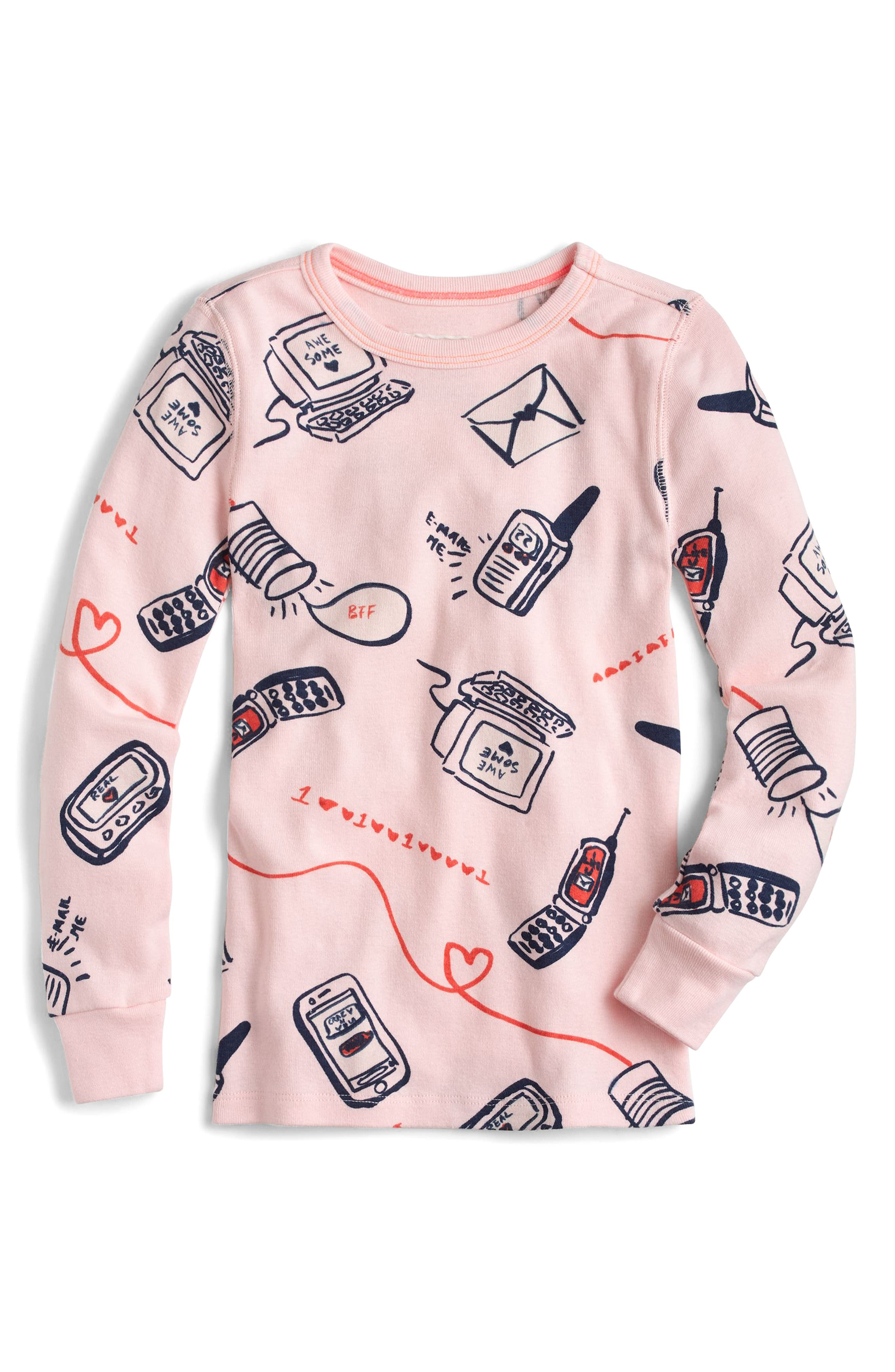 Long Distance Relationship Fitted Two-Piece Pajamas,                             Alternate thumbnail 2, color,                             Ballet Pink