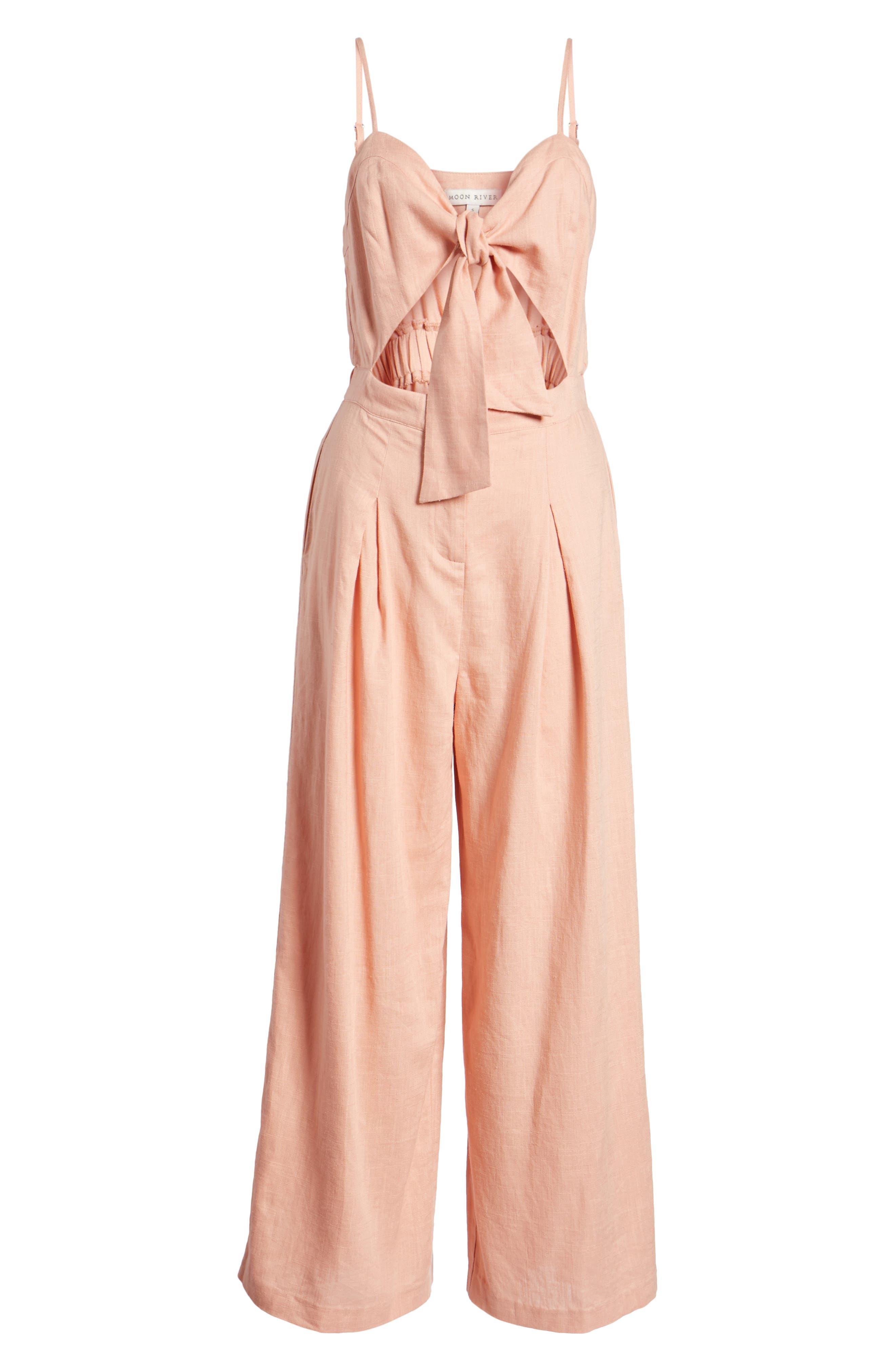 Tie Front Cutout Jumpsuit,                             Alternate thumbnail 7, color,                             Peach