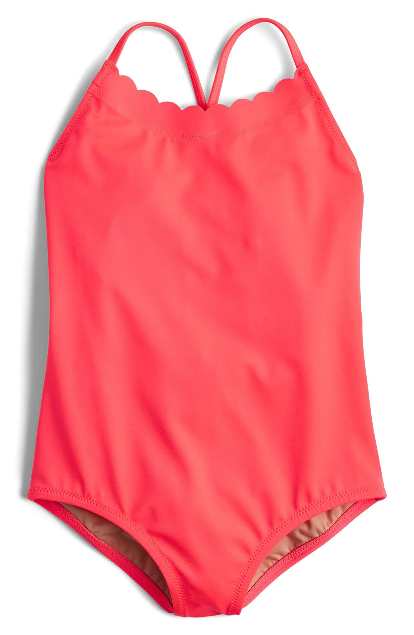 Alternate Image 1 Selected - crewcuts by J.Crew Scalloped One-Piece Swimsuit (Toddler Girls, Little Girls & Big Girls)