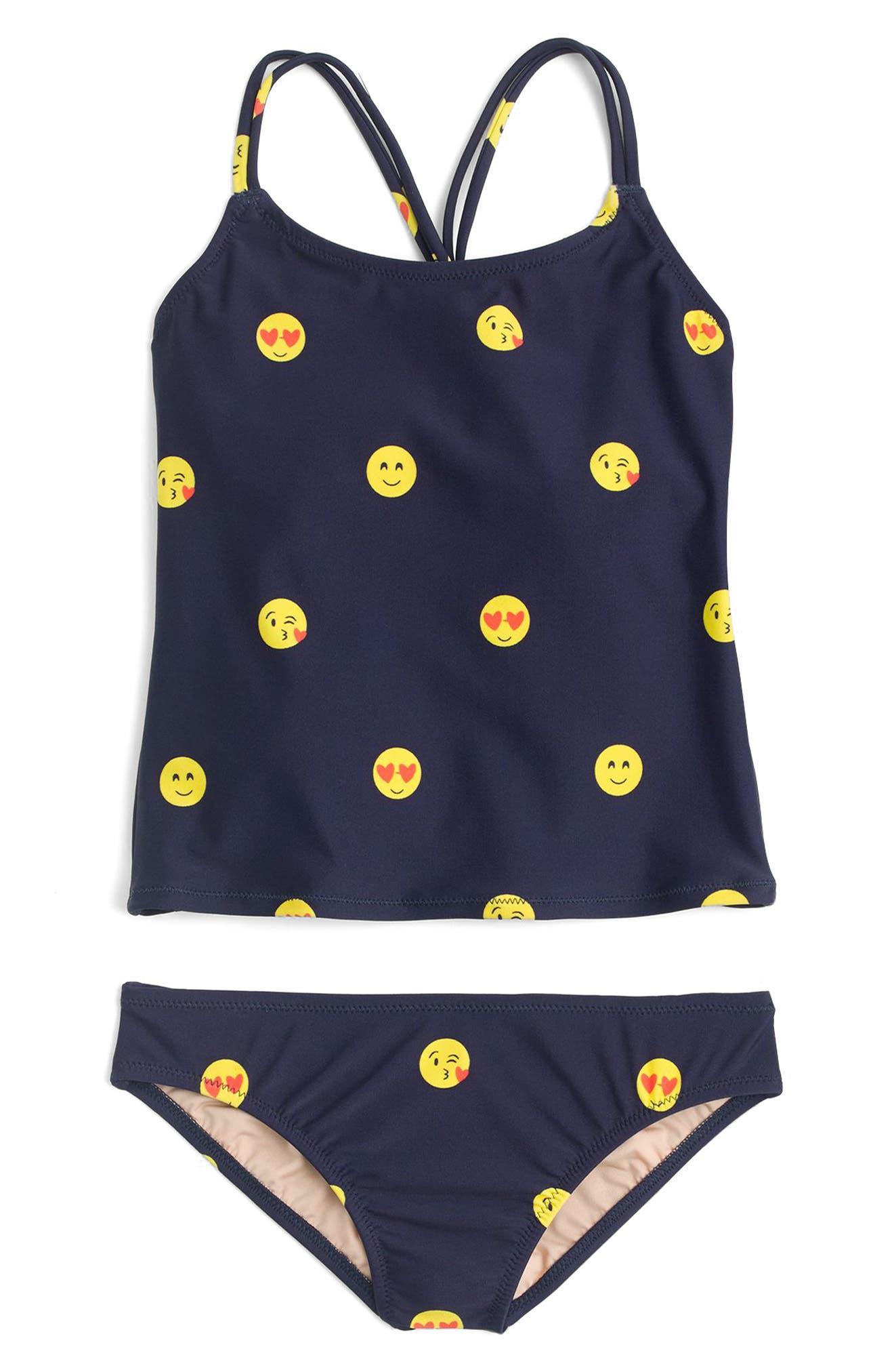 Emoji Two-Piece Swimsuit,                         Main,                         color, Navy/ Lemon