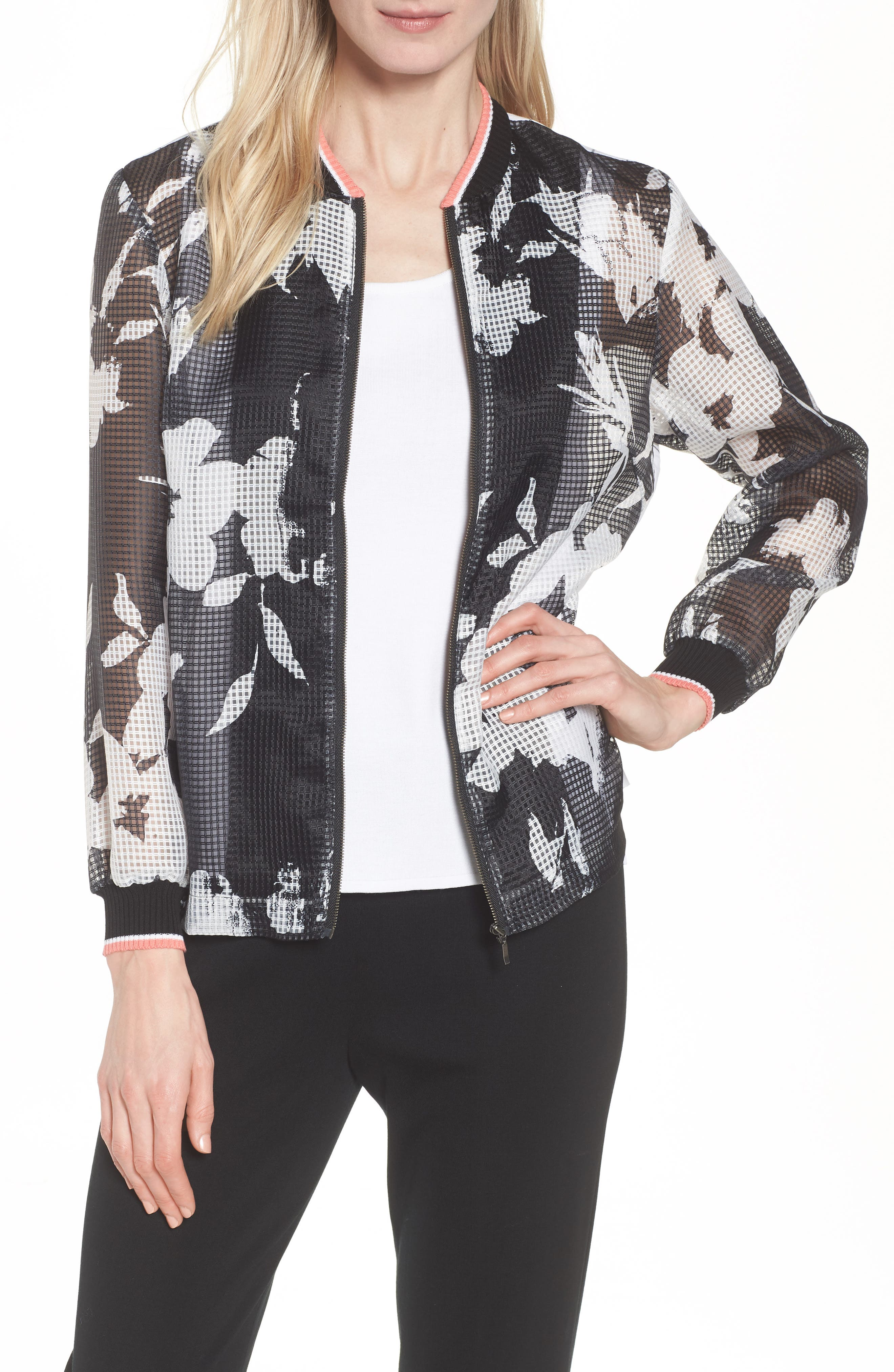 Floral Mesh Bomber Jacket,                             Main thumbnail 1, color,                             Black/ Daylily/ White
