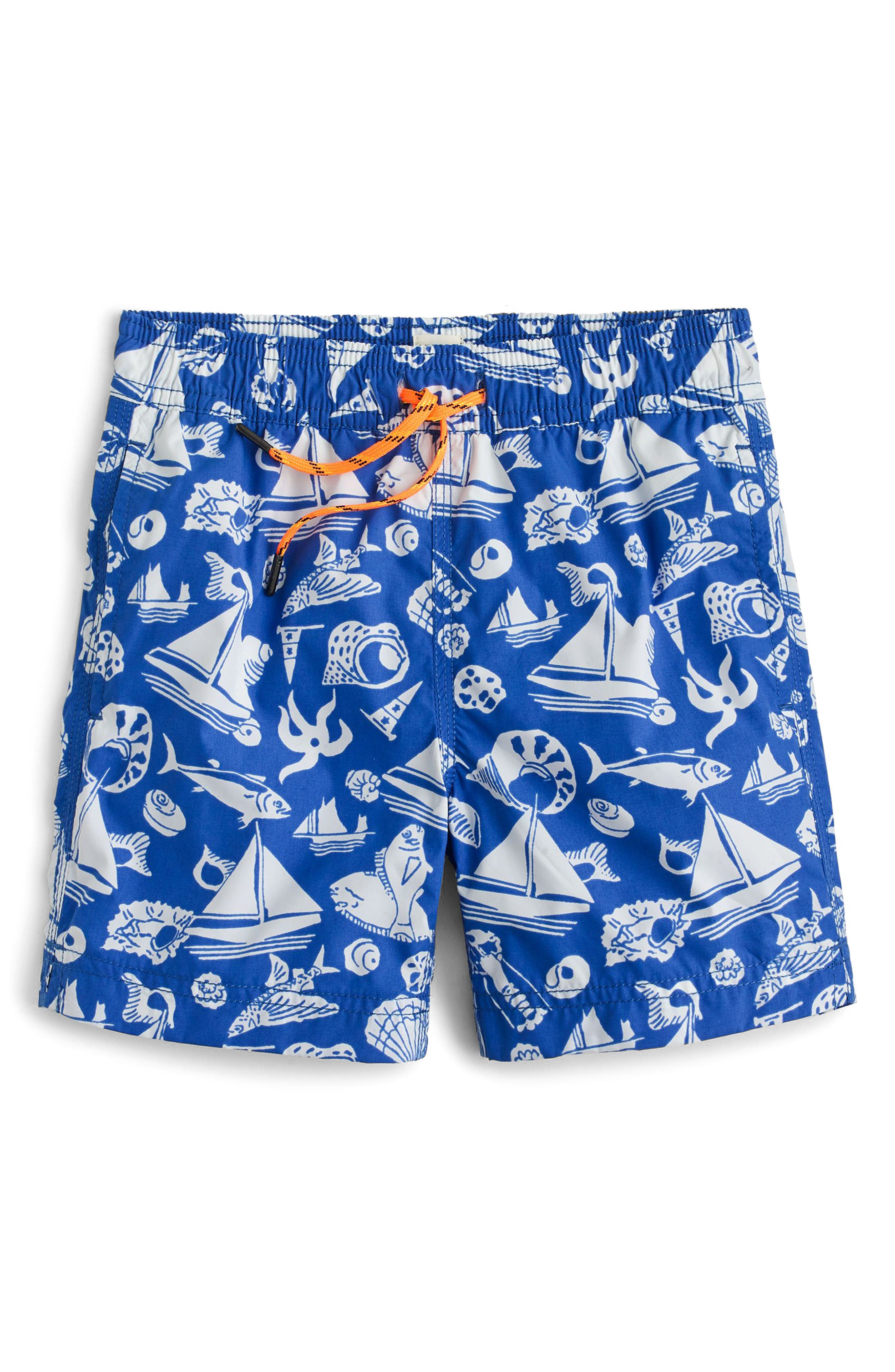 Seaside Life Swim Trunks,                             Main thumbnail 1, color,                             Royal Bay