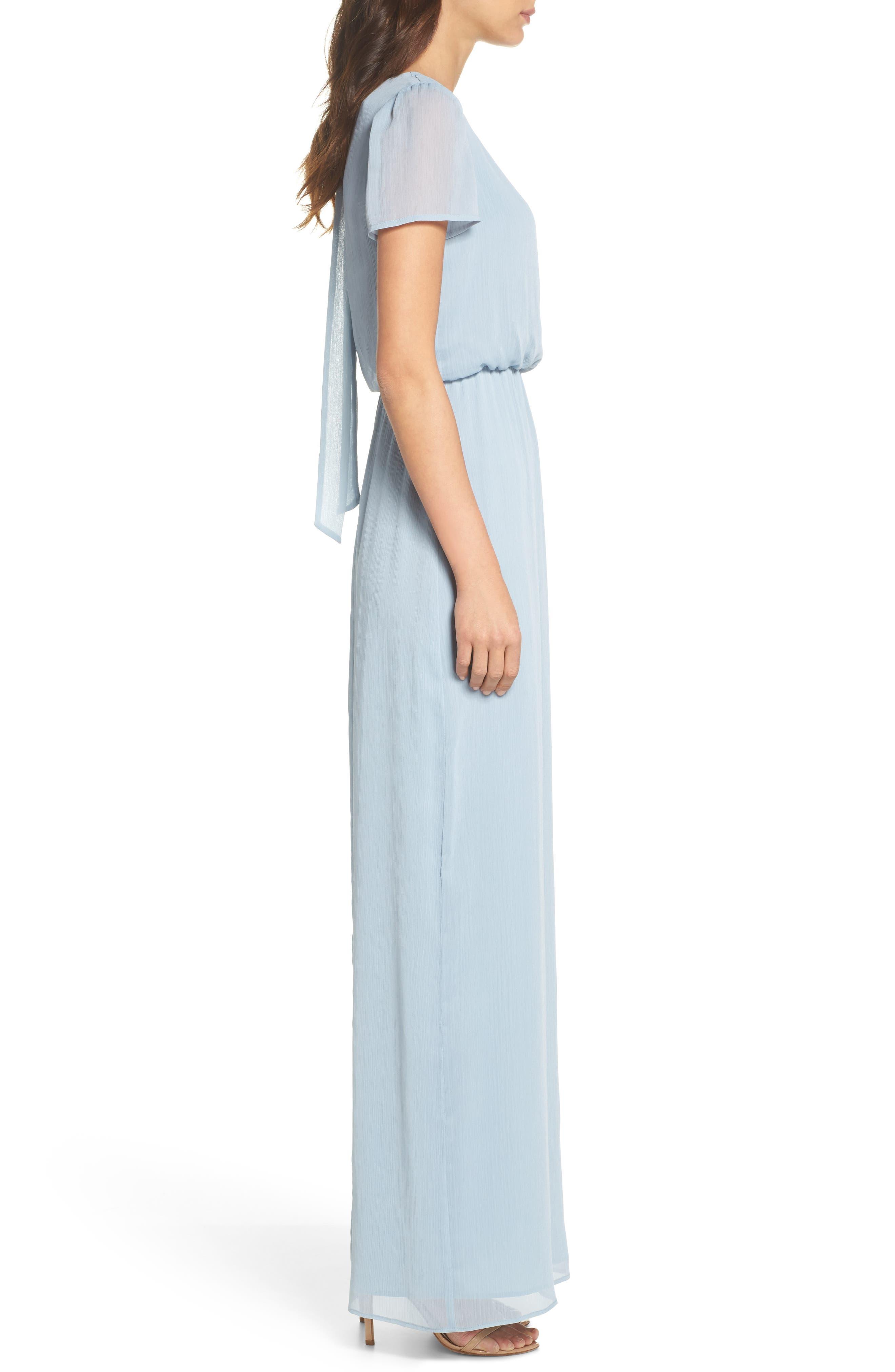 Anna Tie Back Gown,                             Alternate thumbnail 3, color,                             Blue Cloud