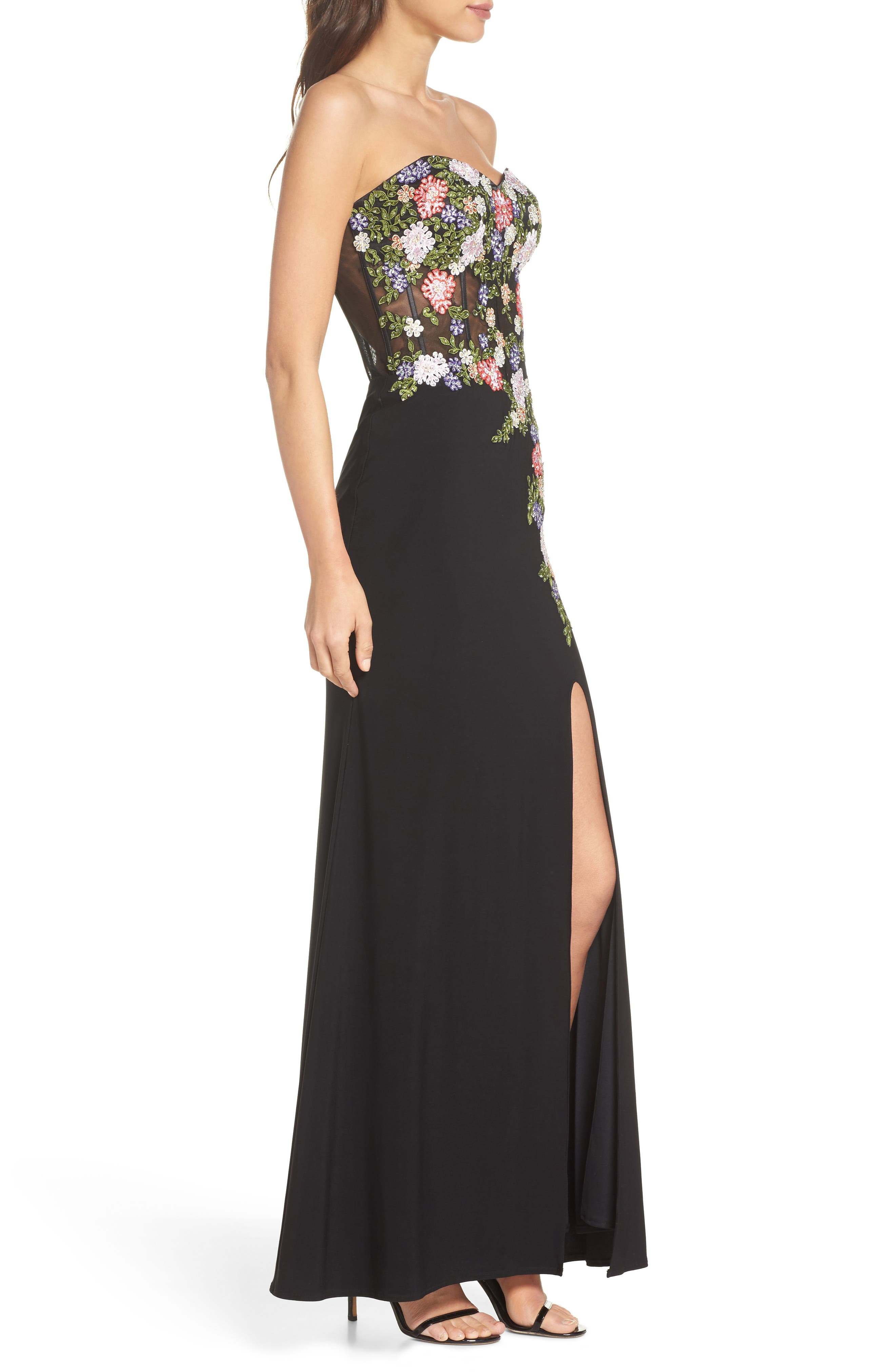 Embroidered Strapless Gown,                             Alternate thumbnail 3, color,                             Black/ Multi