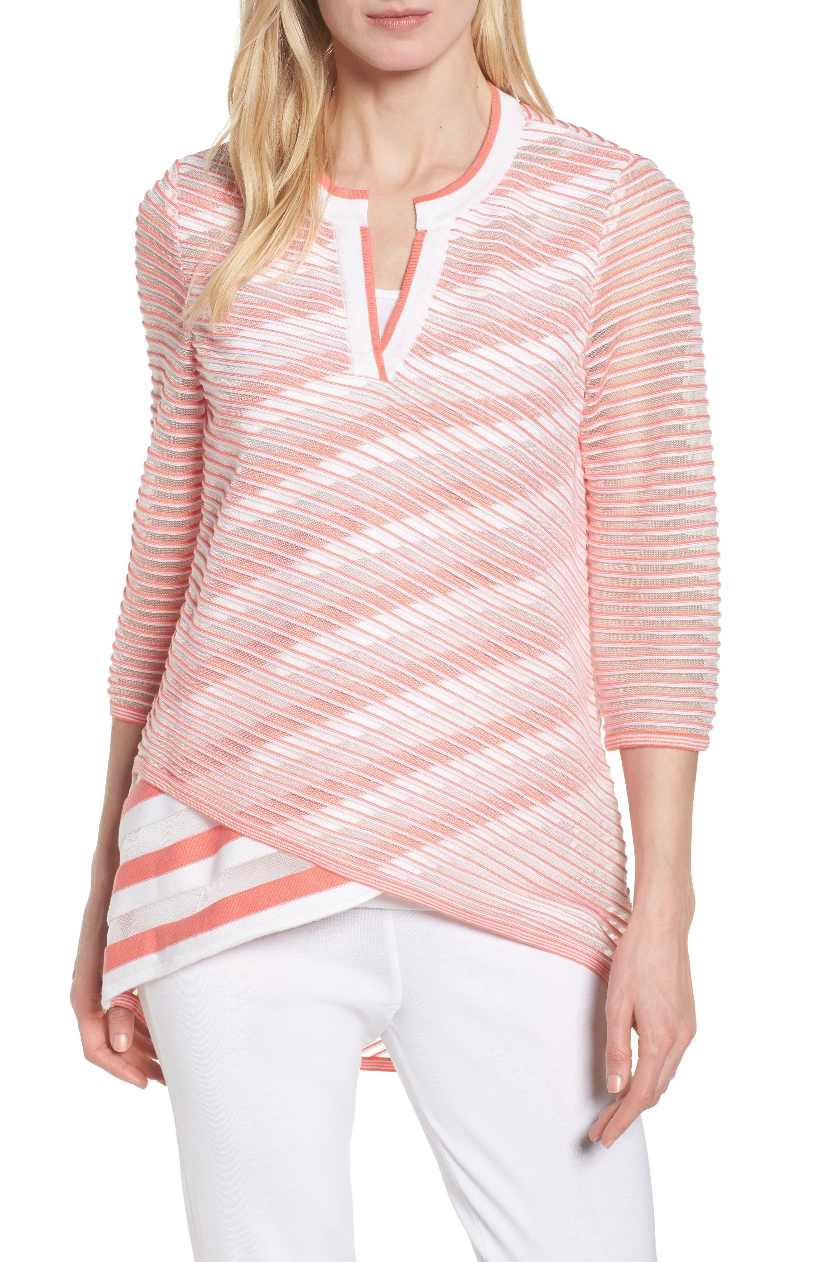 Sheer Stripe Knit Tunic,                             Main thumbnail 1, color,                             Daylily/ White