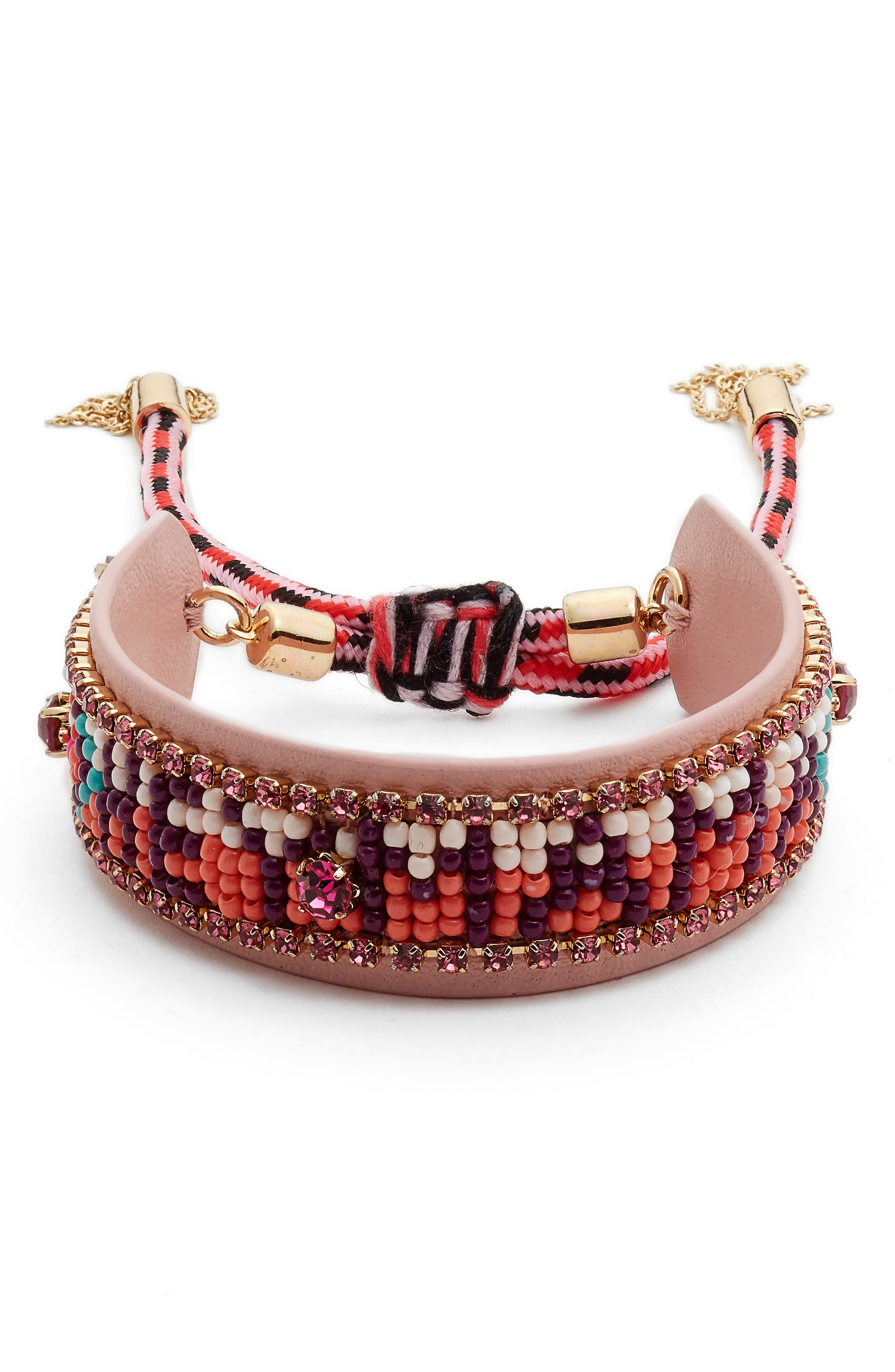 Beaded Friendship Bracelet,                             Main thumbnail 1, color,                             Pink/ Orange