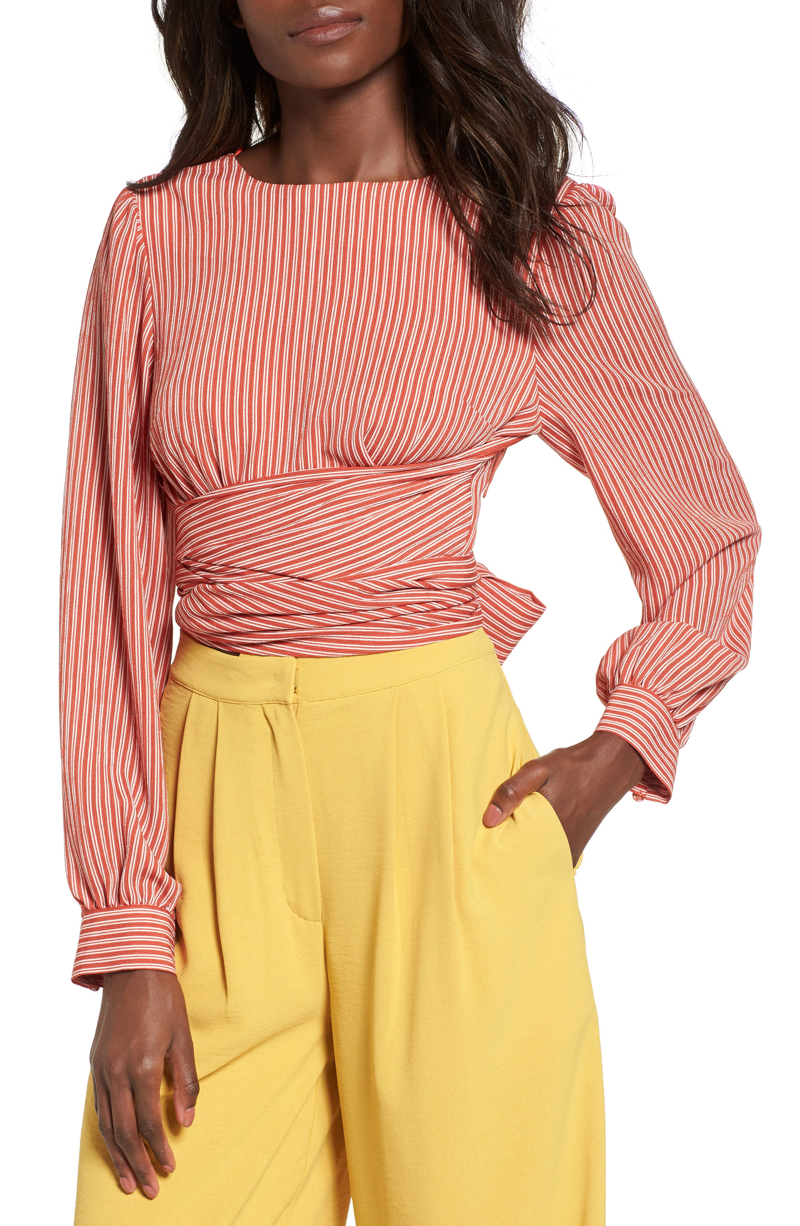 Chriselle x J.O.A. Tie Waist Top,                         Main,                         color, Patina Stripe