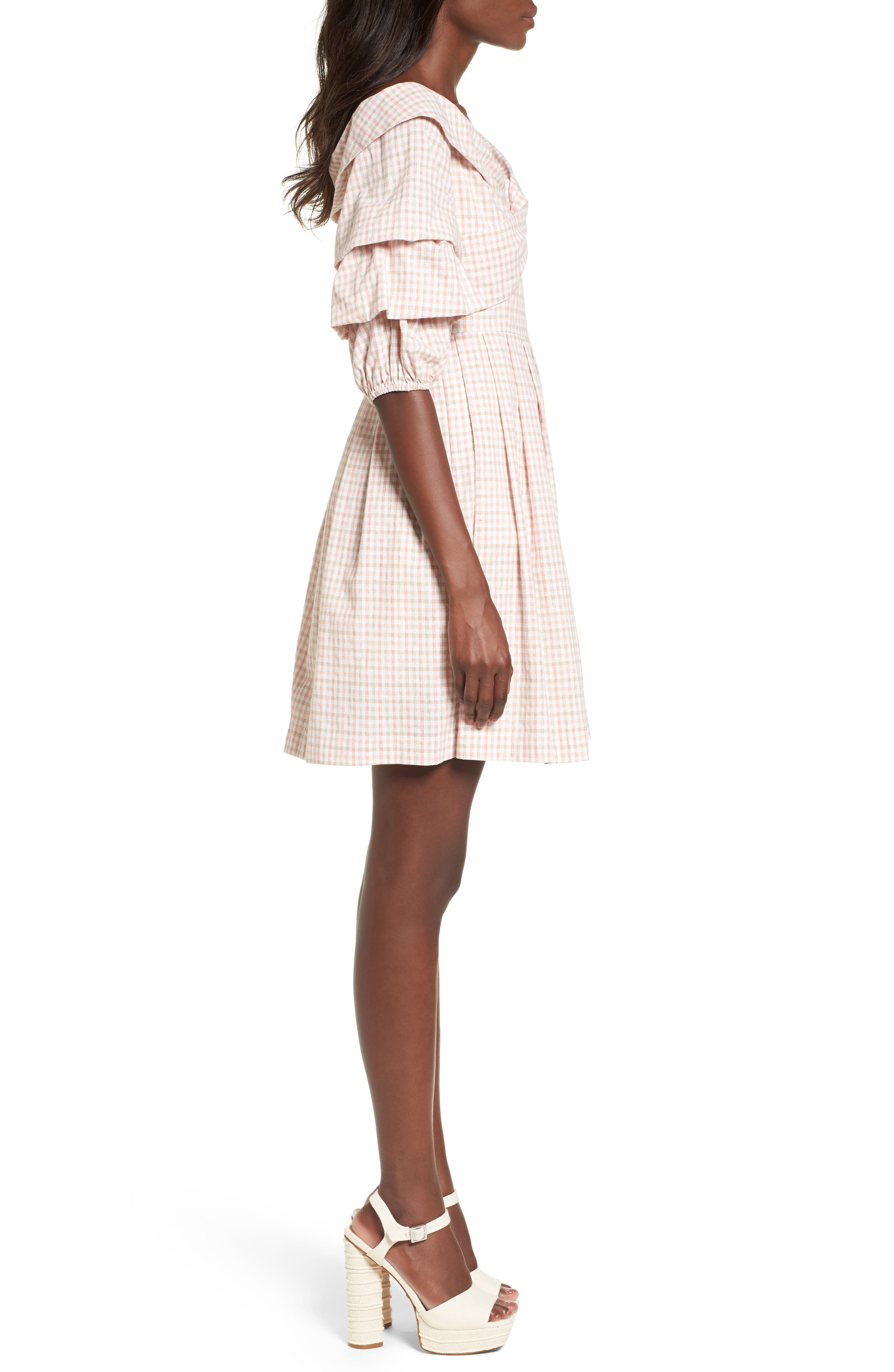 Chriselle x J.O.A. Tiered Sleeve Minidress,                             Alternate thumbnail 5, color,                             Patina Gingham
