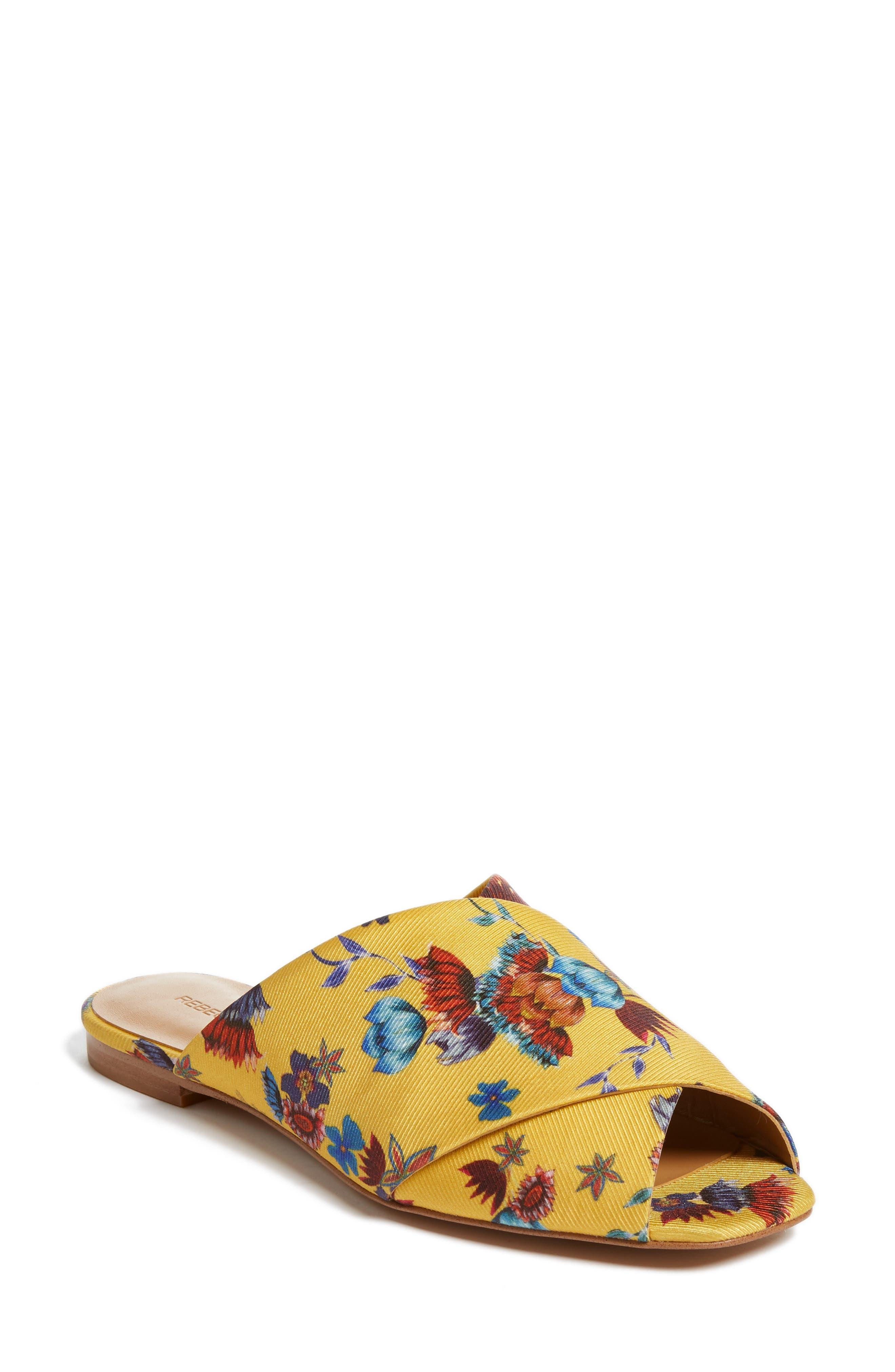 Anden Slide Sandal,                         Main,                         color, Butterscotch Multi Print Silk
