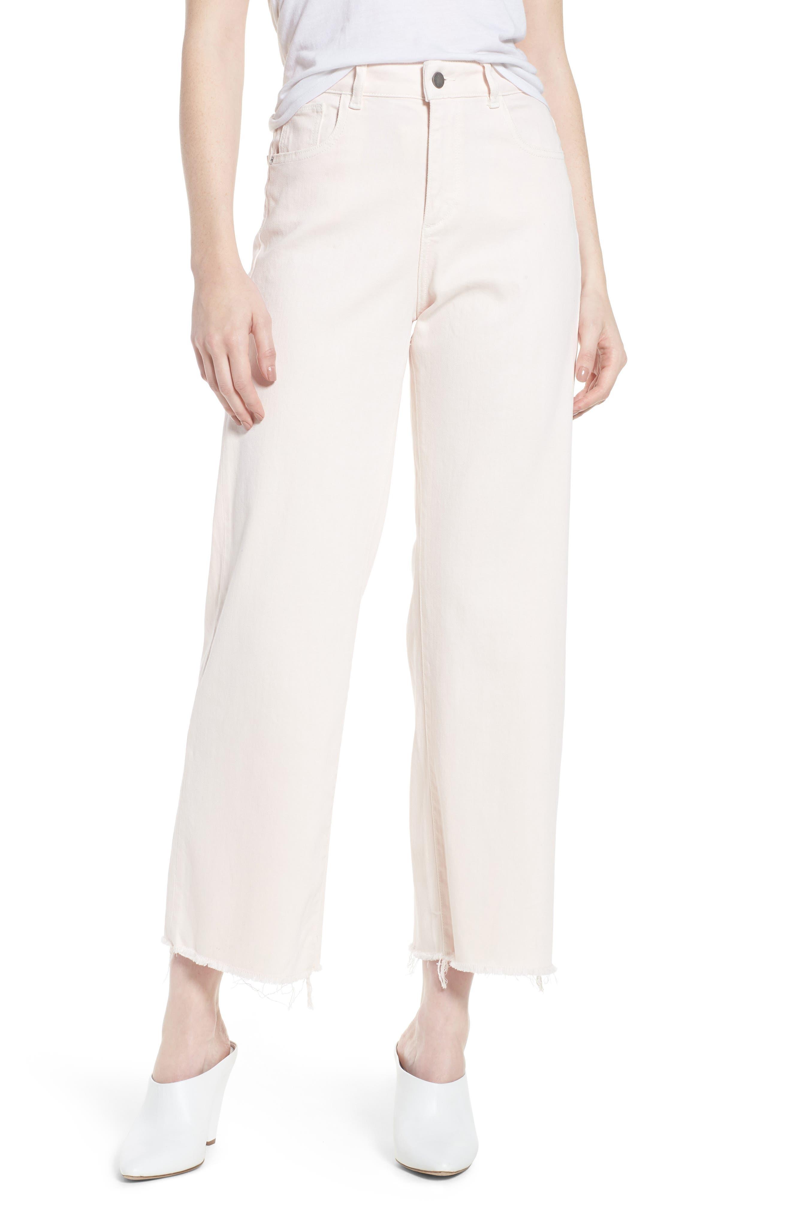 Hepburn Ankle Wide Leg Jeans,                         Main,                         color, Blush Pink