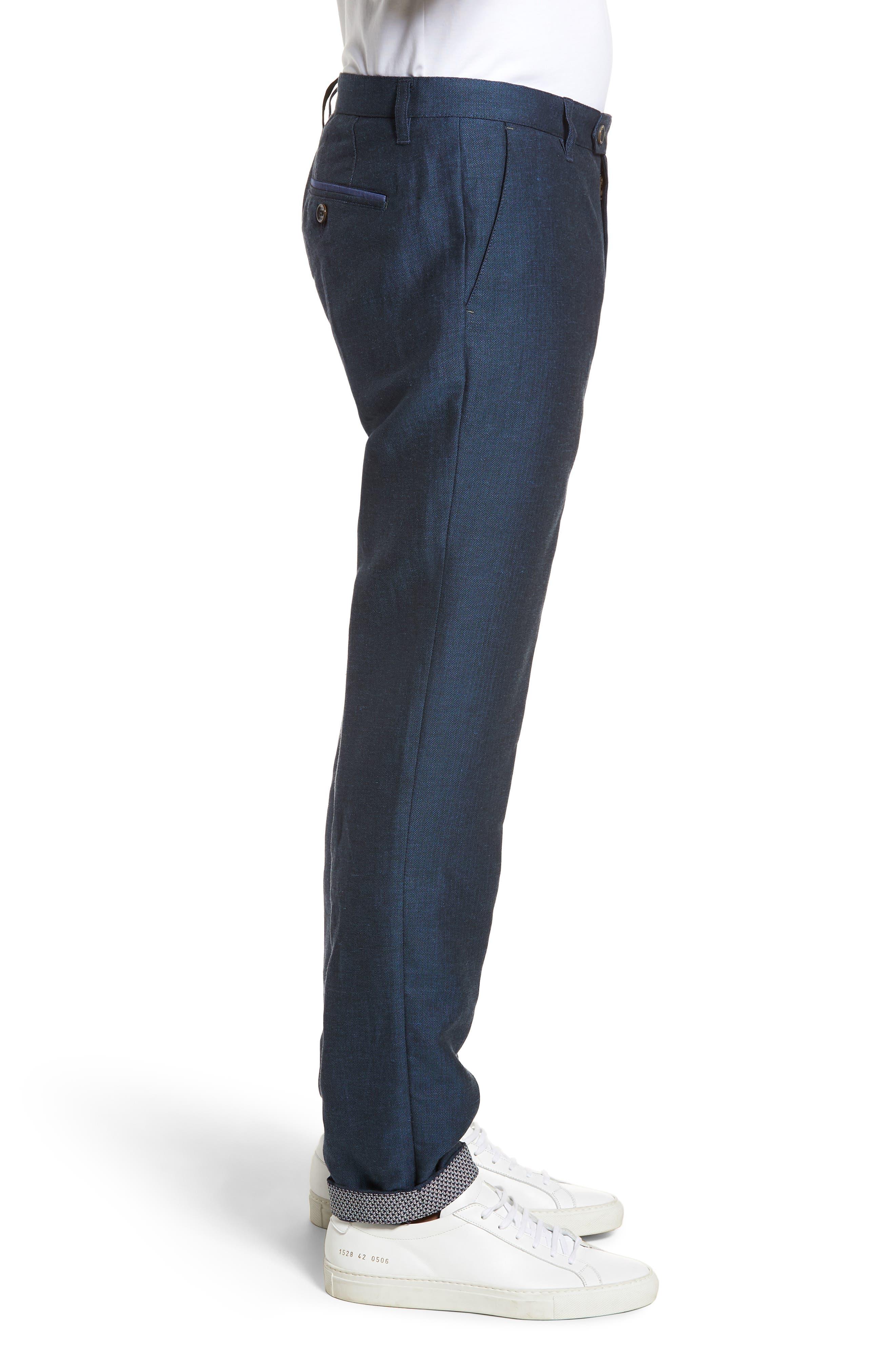 Cazzman Flat Front Stretch Pants,                             Alternate thumbnail 3, color,                             Navy