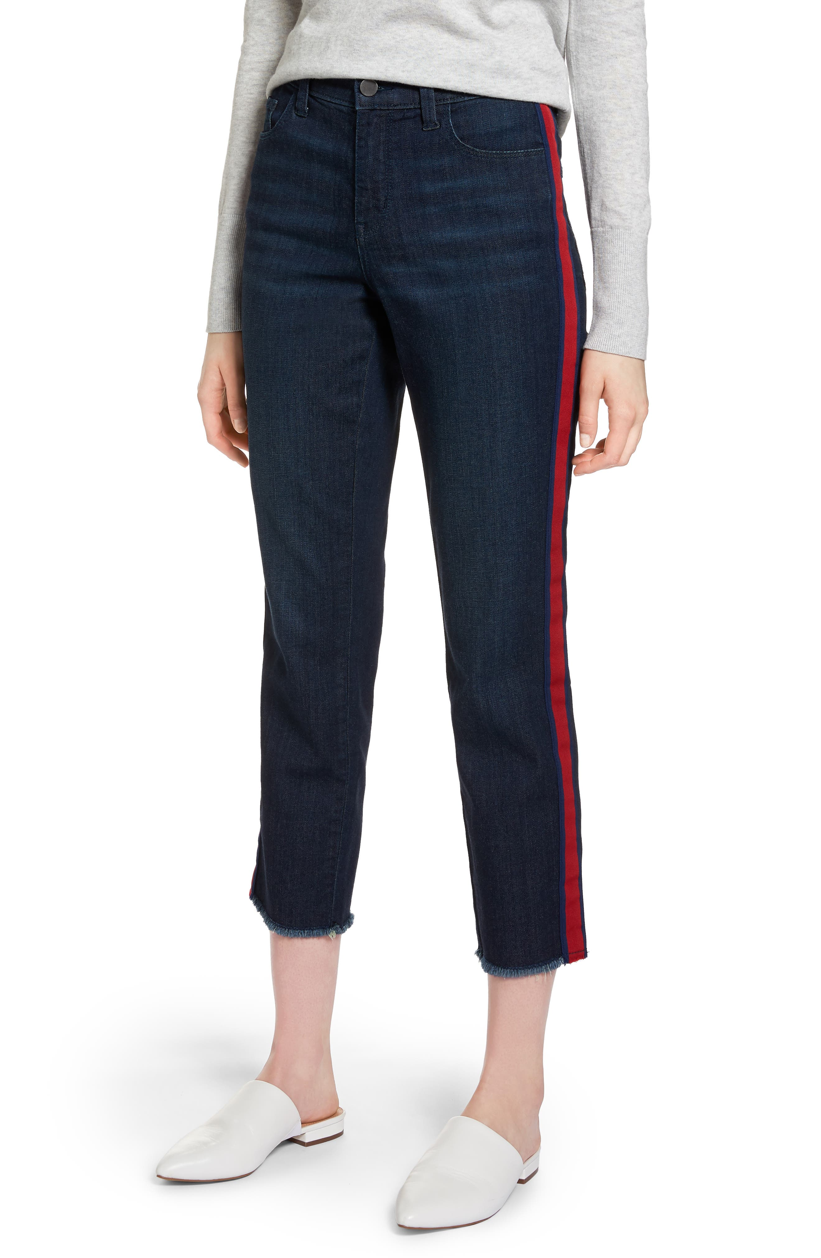 Halogen® Tuxedo Stripe Straight Leg Jeans (Regular & Petite)