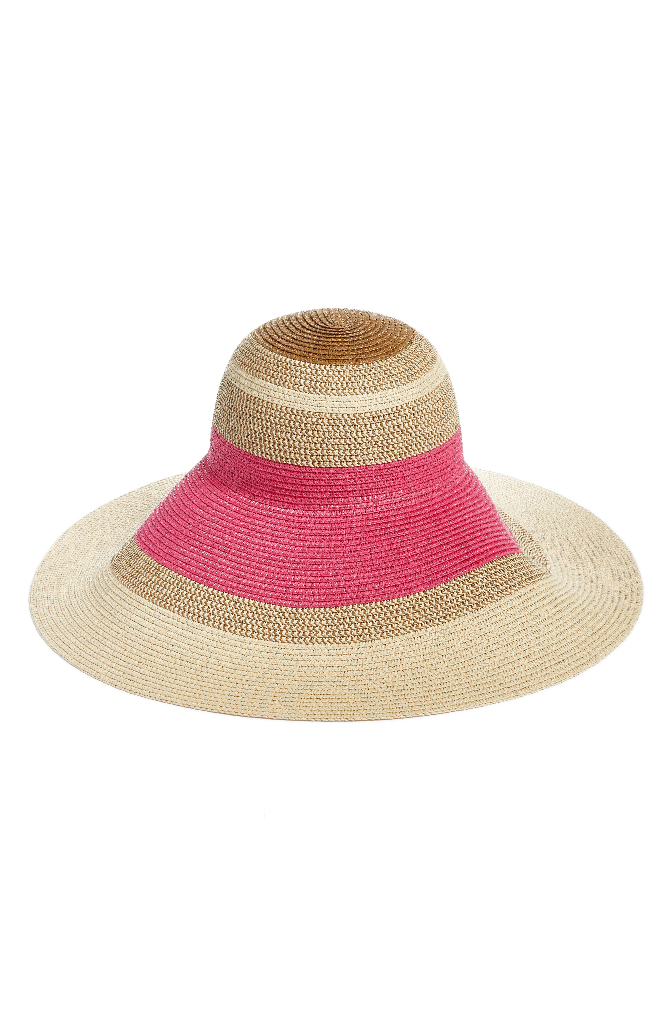 Statement Floppy Straw Hat,                         Main,                         color, Pink Combo