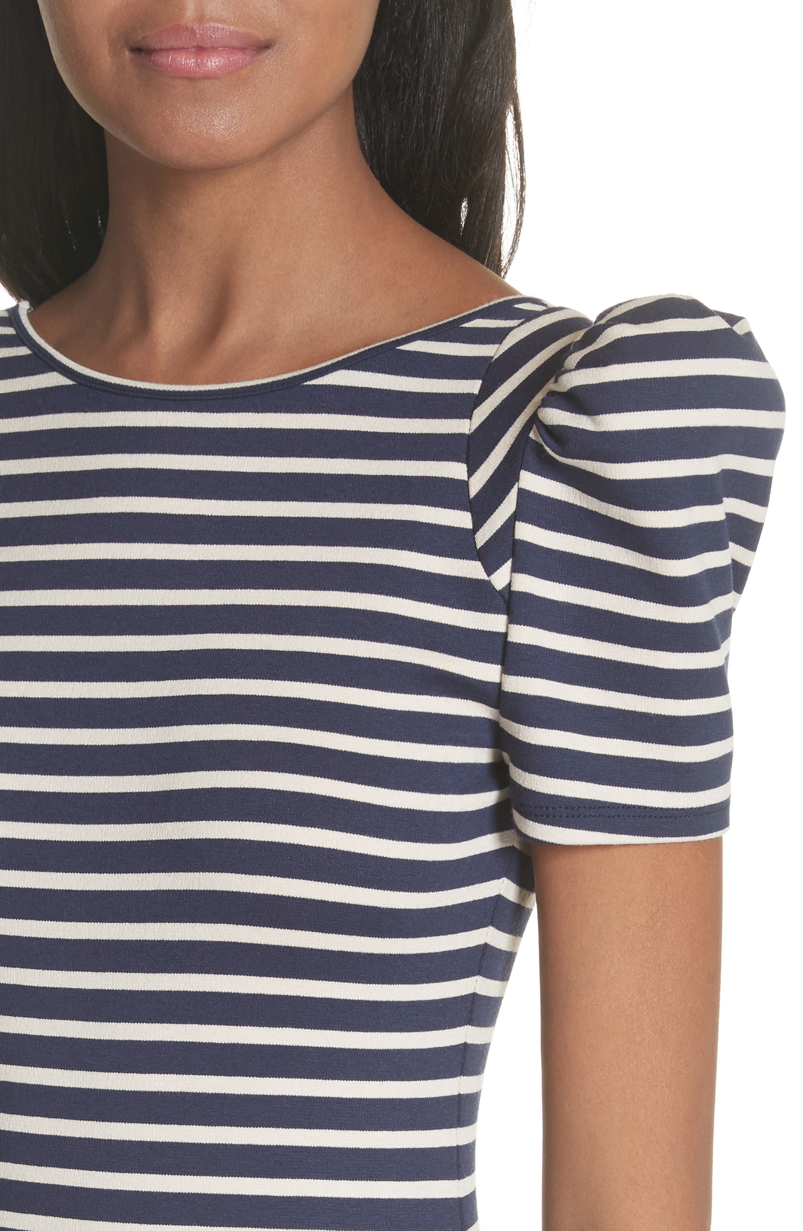 Puff Sleeve Body-Con Midi Dress,                             Alternate thumbnail 4, color,                             Navy Breton Stripe