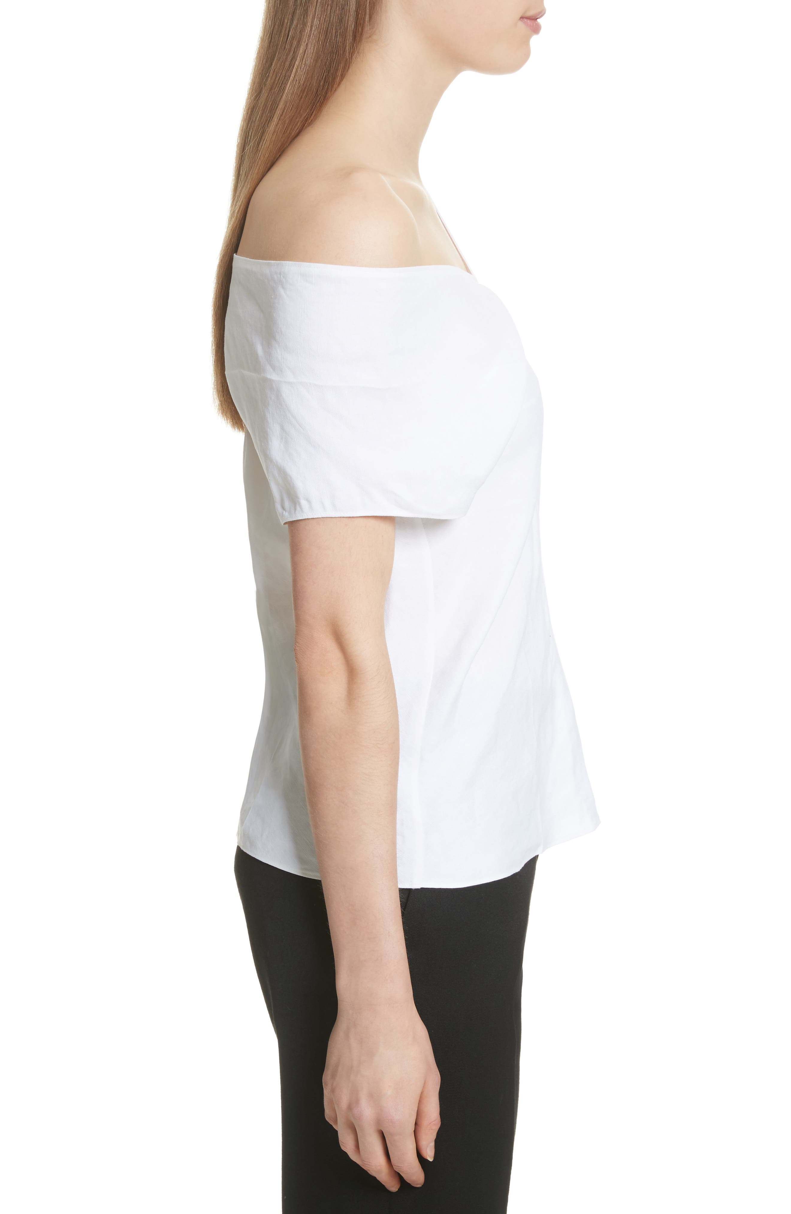 One-Shoulder Linen Blend Top,                             Alternate thumbnail 3, color,                             Optic White