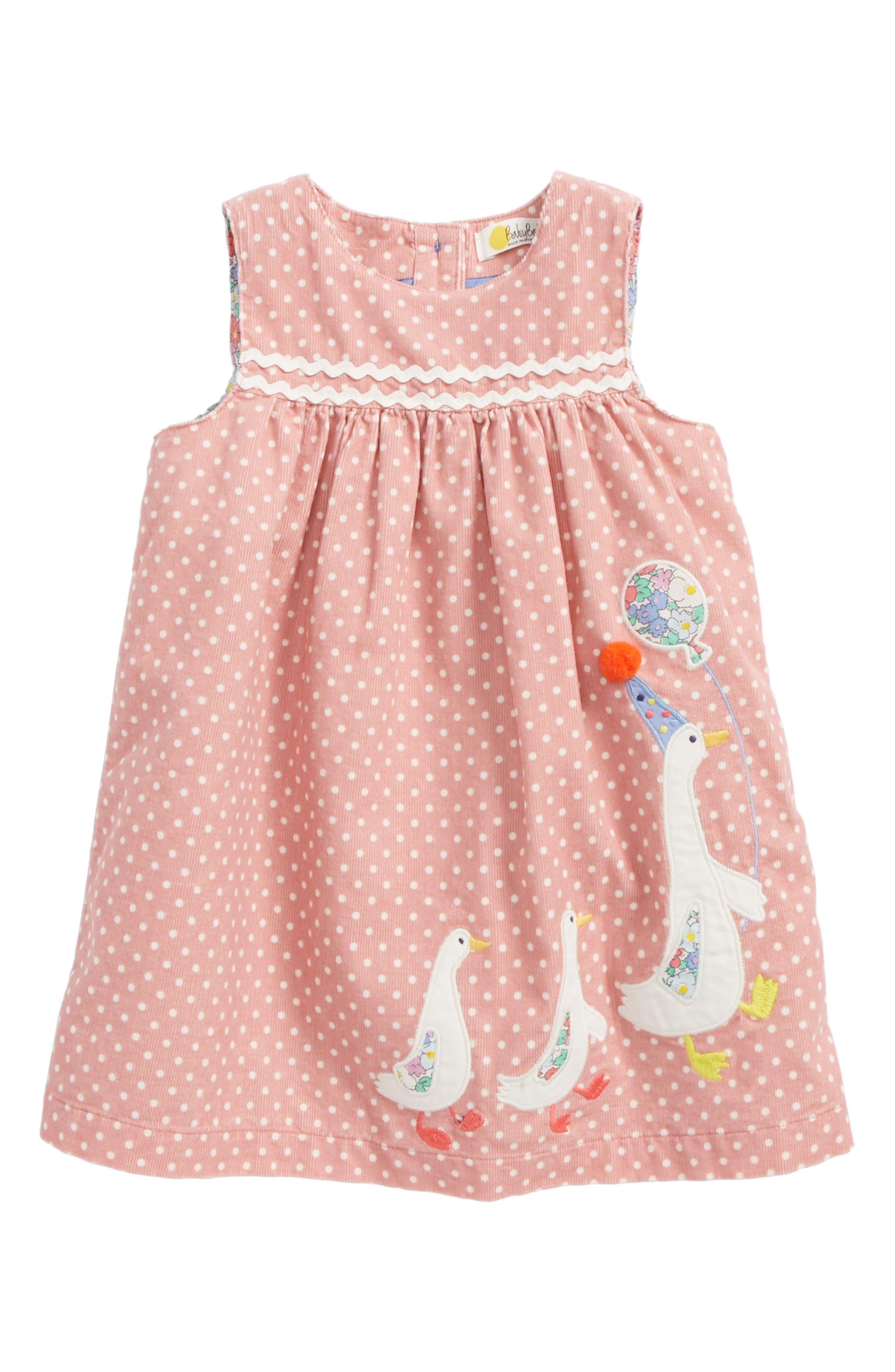Appliqué Corduroy Pinafore,                         Main,                         color, Blossom Pink