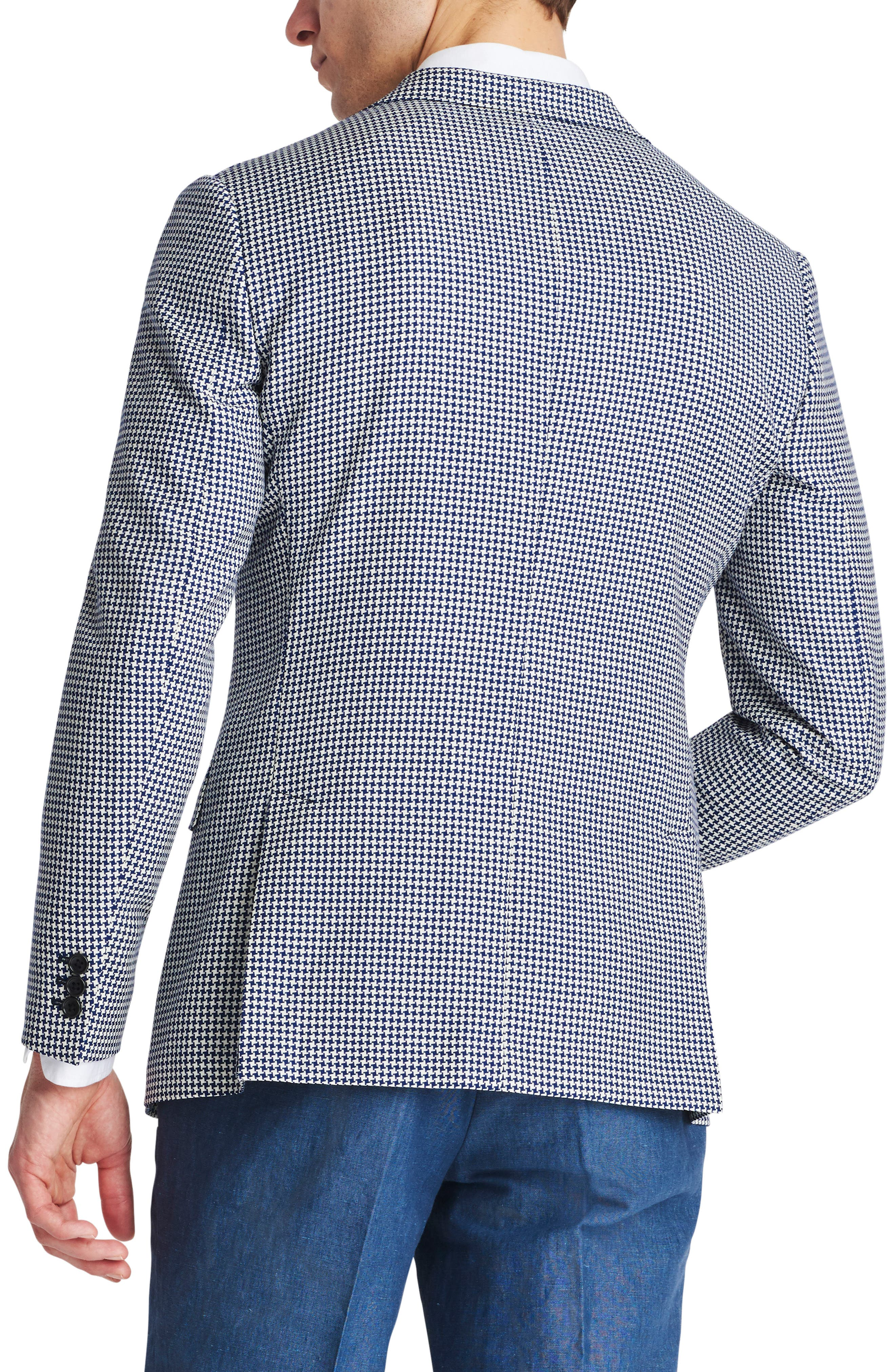 Capstone Slim Fit Houndstooth Wool Sport Coat,                             Alternate thumbnail 2, color,                             Navy White Houndstooth