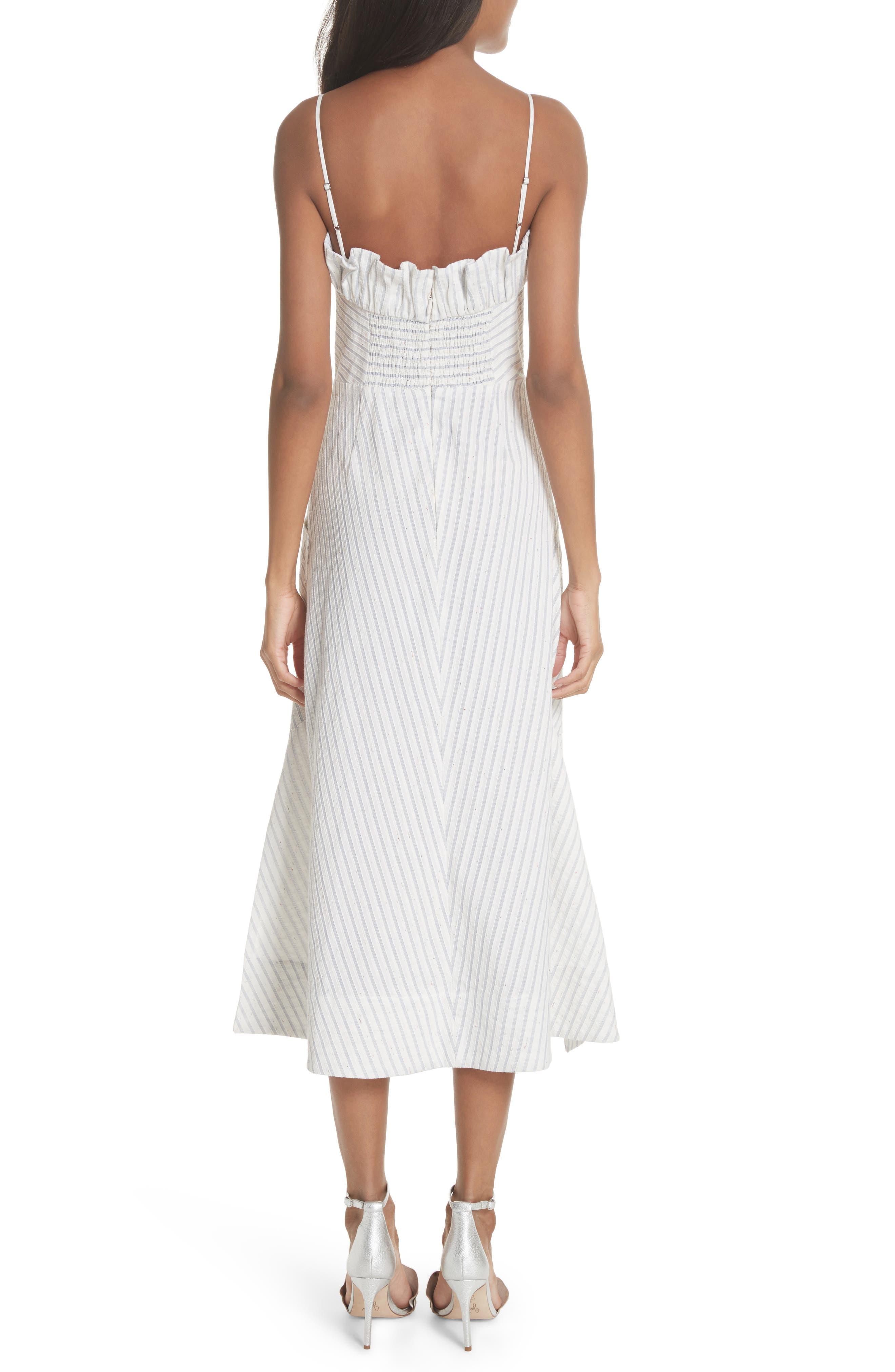 Ruffled Stripe Midi Dress,                             Alternate thumbnail 2, color,                             Blue Combo