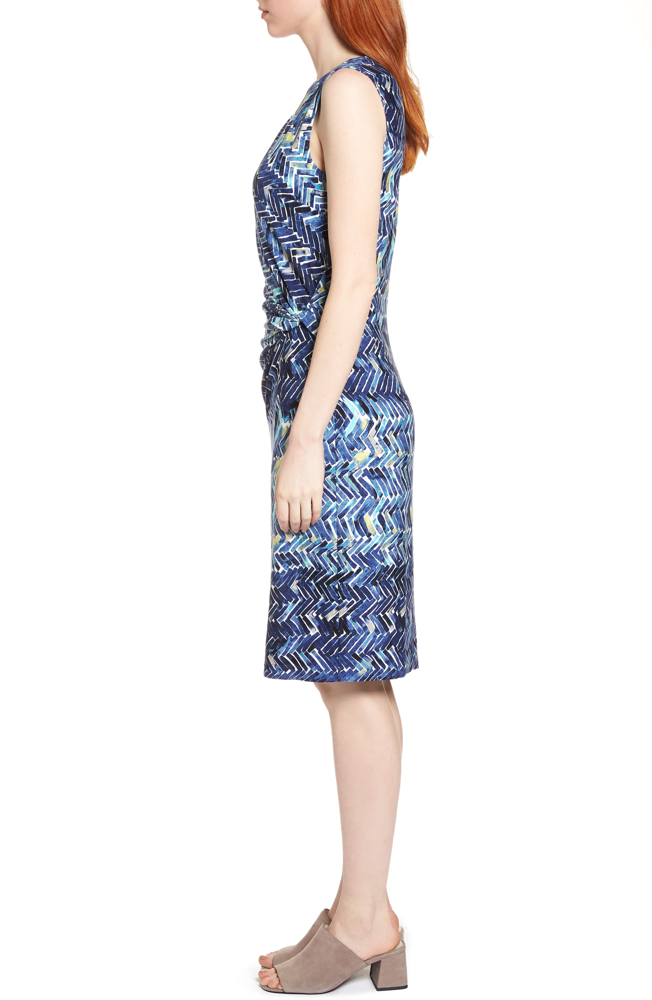 Seaside Tile Ruched Sheath Dress,                             Alternate thumbnail 3, color,                             Multi