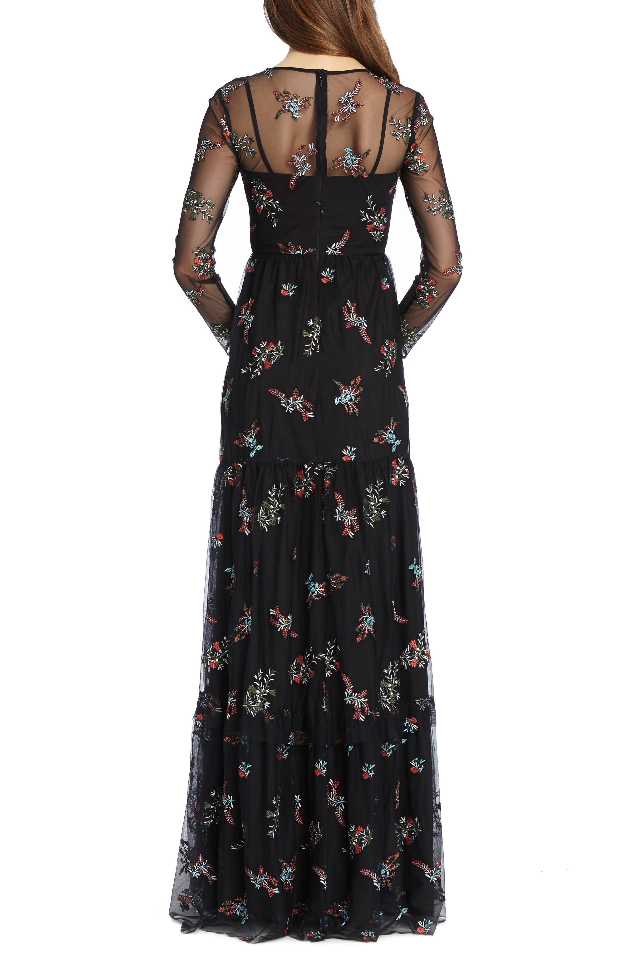 Embroidered Mesh Gown,                             Alternate thumbnail 2, color,                             Black Combo