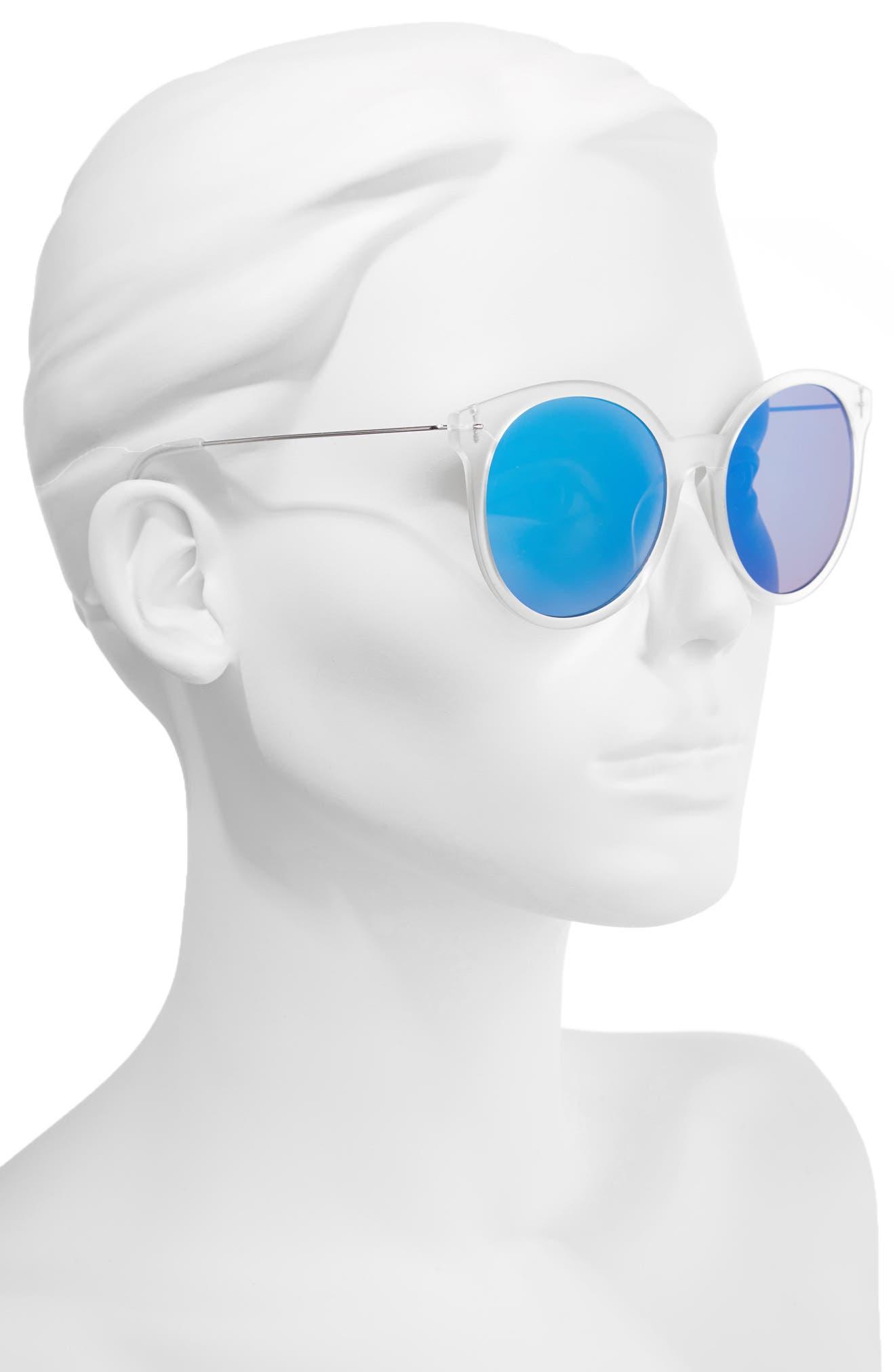 62mm Transparent Round Lens Sunglasses,                             Alternate thumbnail 2, color,                             Clear/ Blue