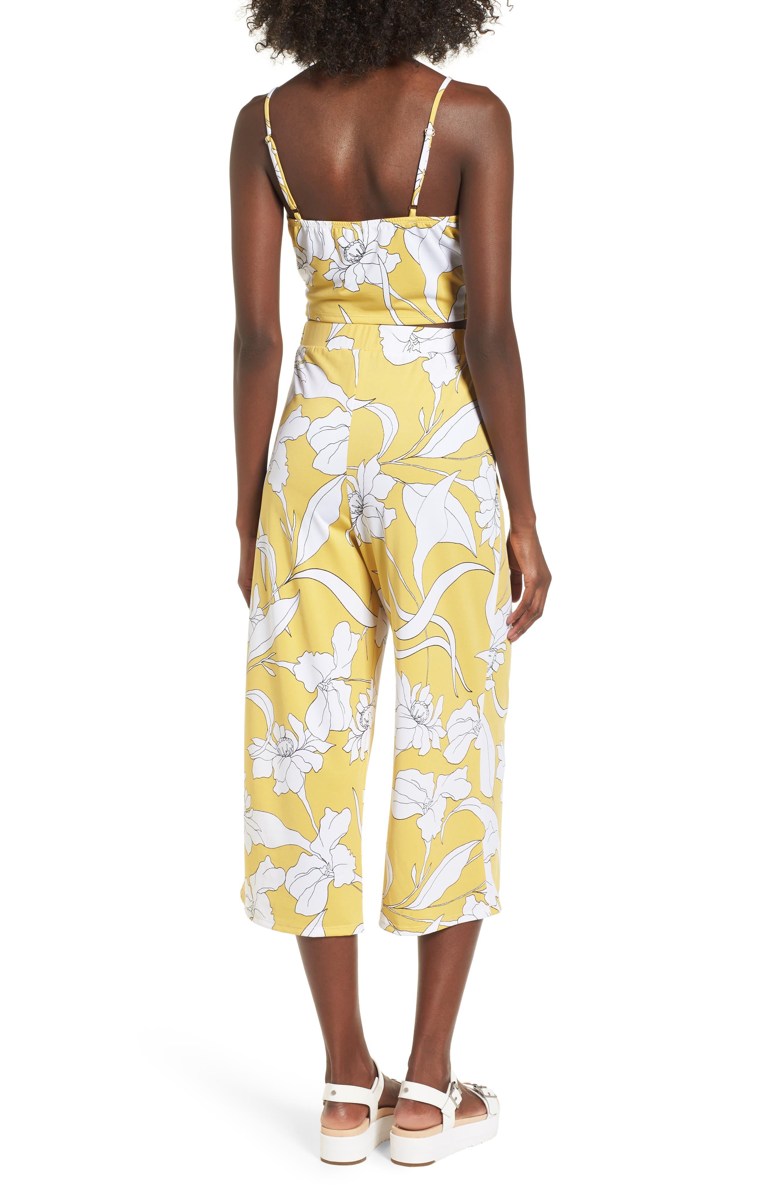 Floral Print Wide Leg Crop Pants,                             Alternate thumbnail 2, color,                             Yellow Floral