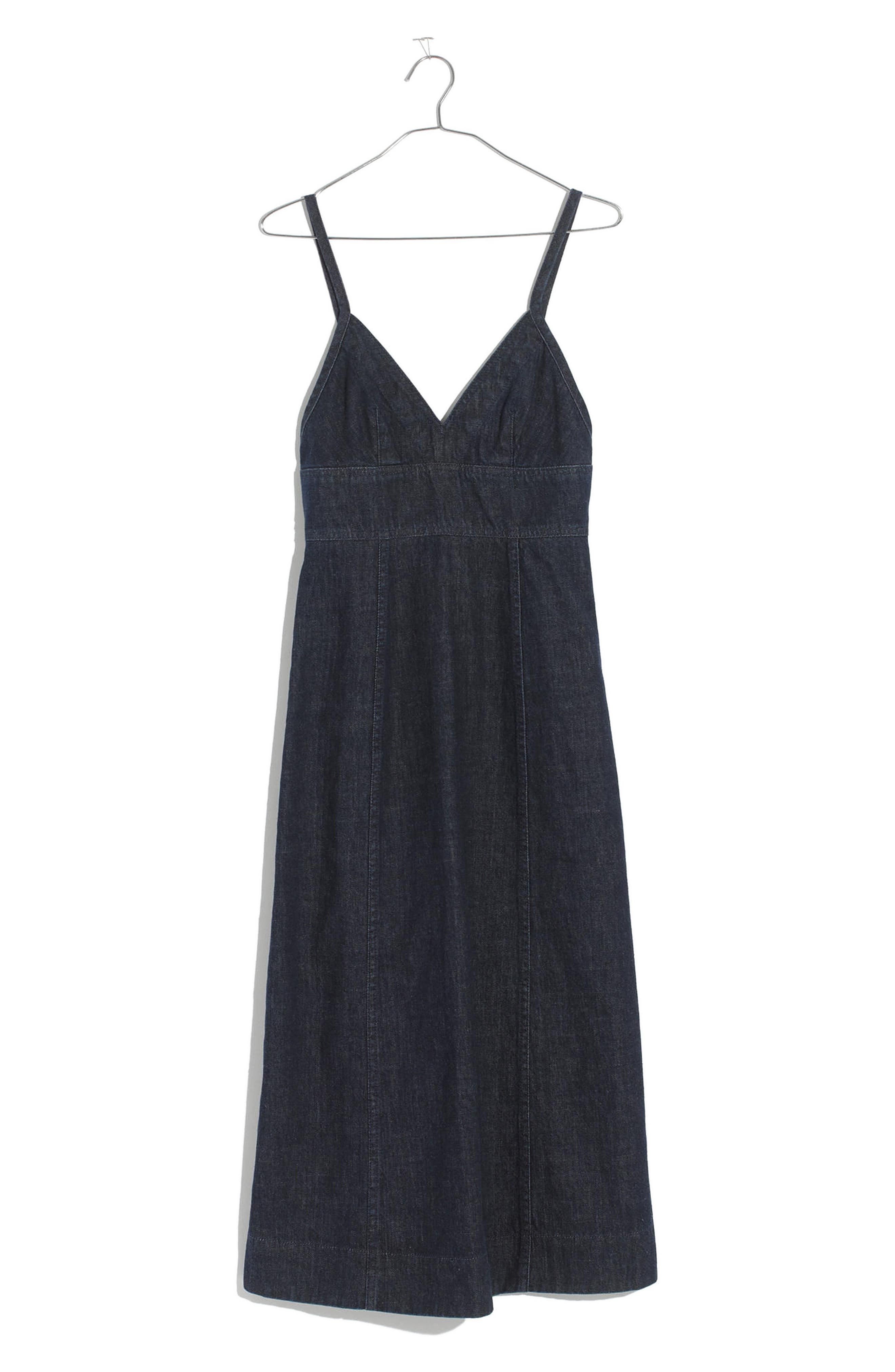 Denim Camisole Midi Dress,                             Alternate thumbnail 4, color,                             Candice Wash