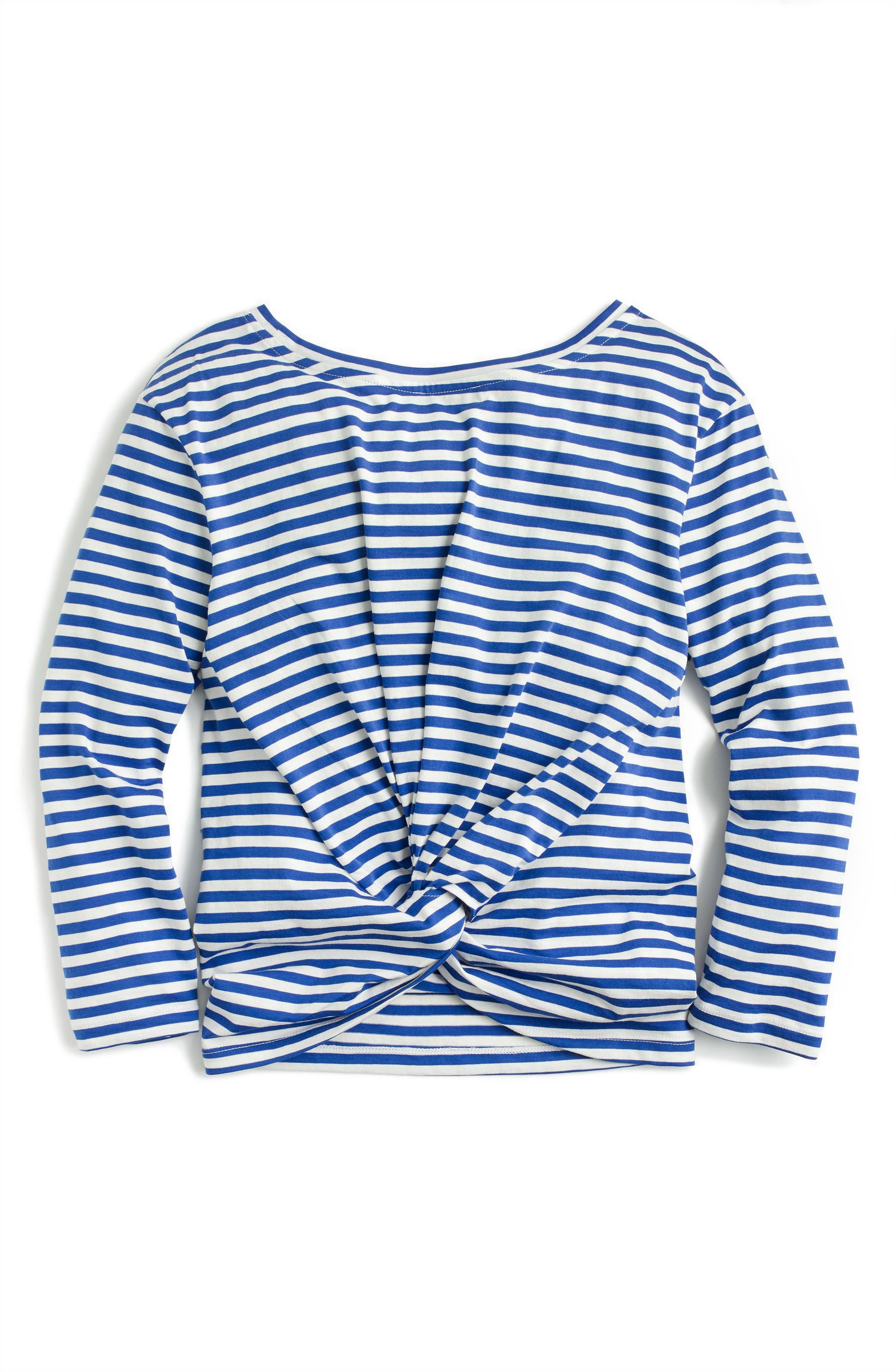 Stripe Twist Back Tee,                             Alternate thumbnail 4, color,                             Bright Ocean Ivory
