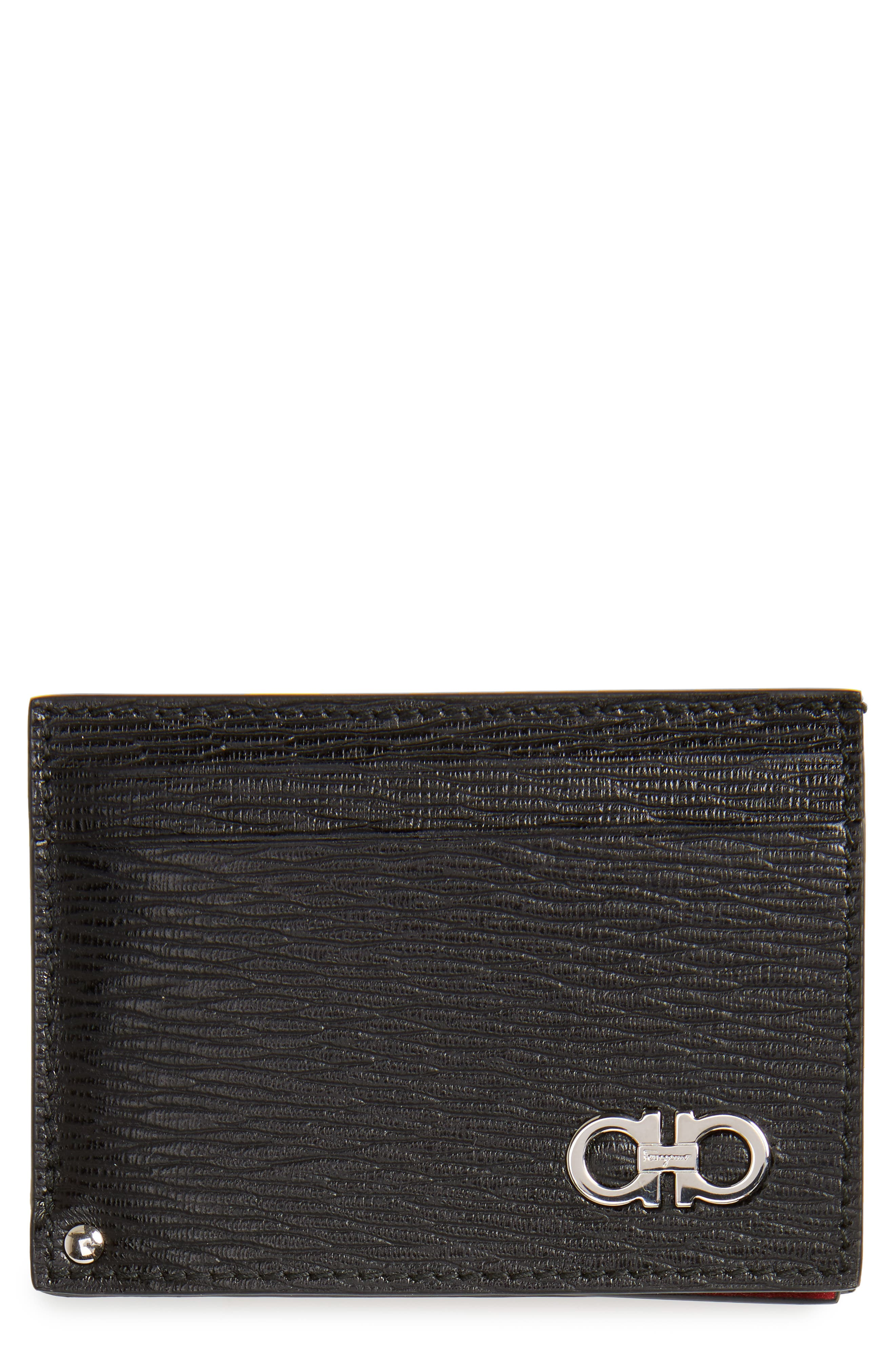 Revival Calfskin Leather Card Case,                             Main thumbnail 1, color,                             Black