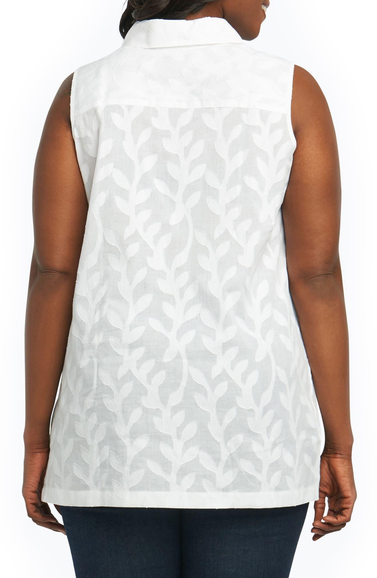 Ariah Palm Jacquard Sleeveless Shirt,                             Alternate thumbnail 2, color,                             White