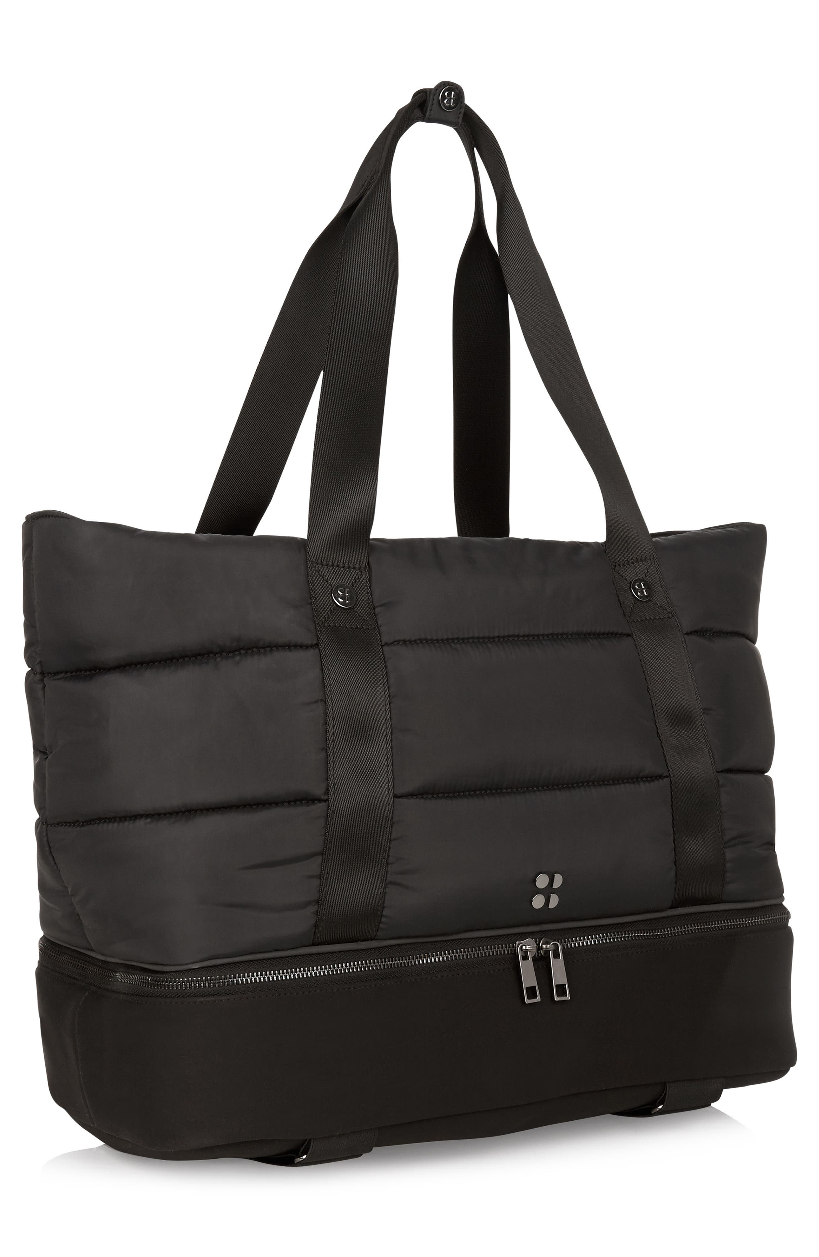 Sweat Betty Luxe Gym Bag,                             Alternate thumbnail 3, color,                             Black