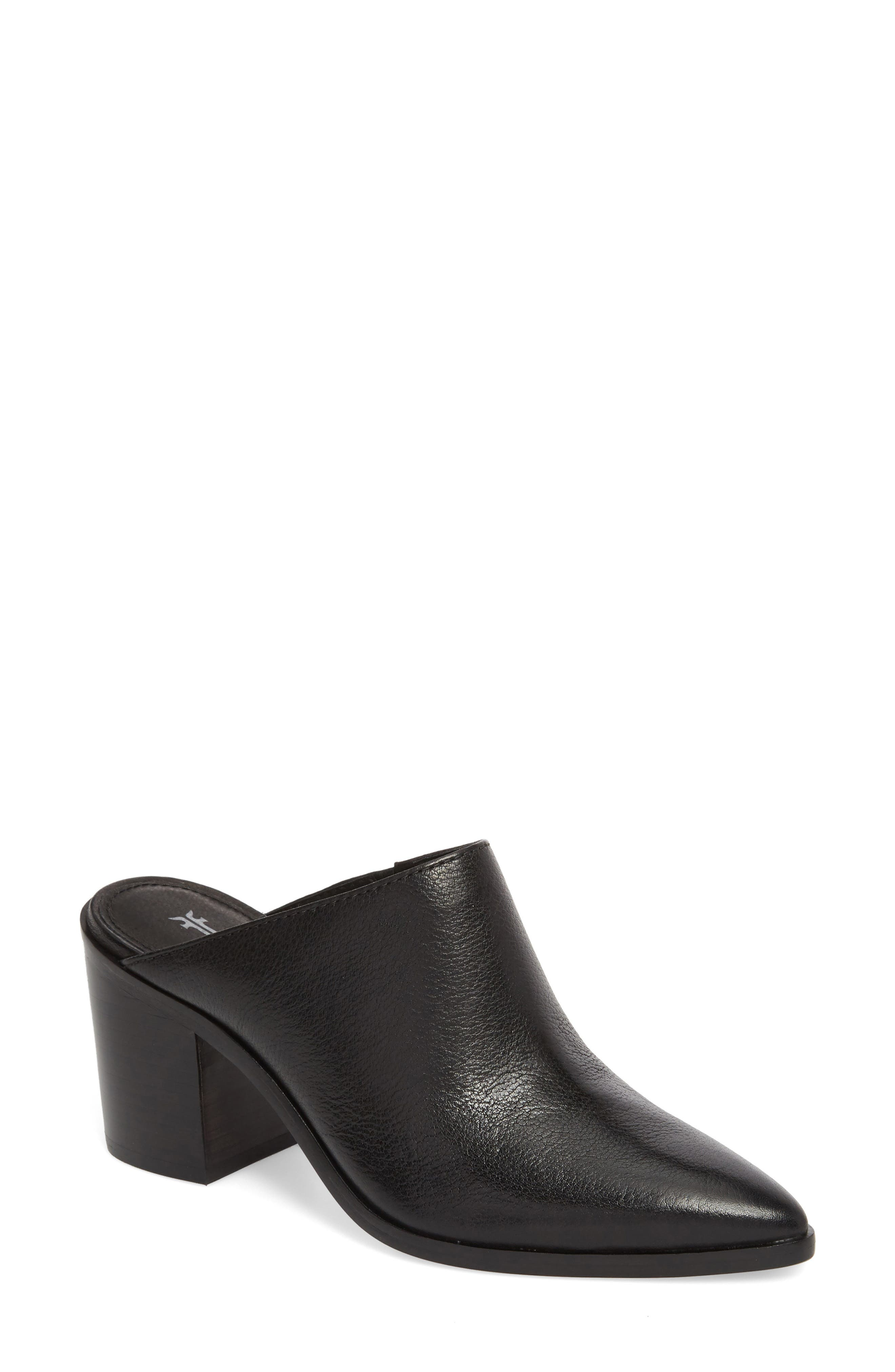 Flynn Mule,                             Main thumbnail 1, color,                             Black Leather