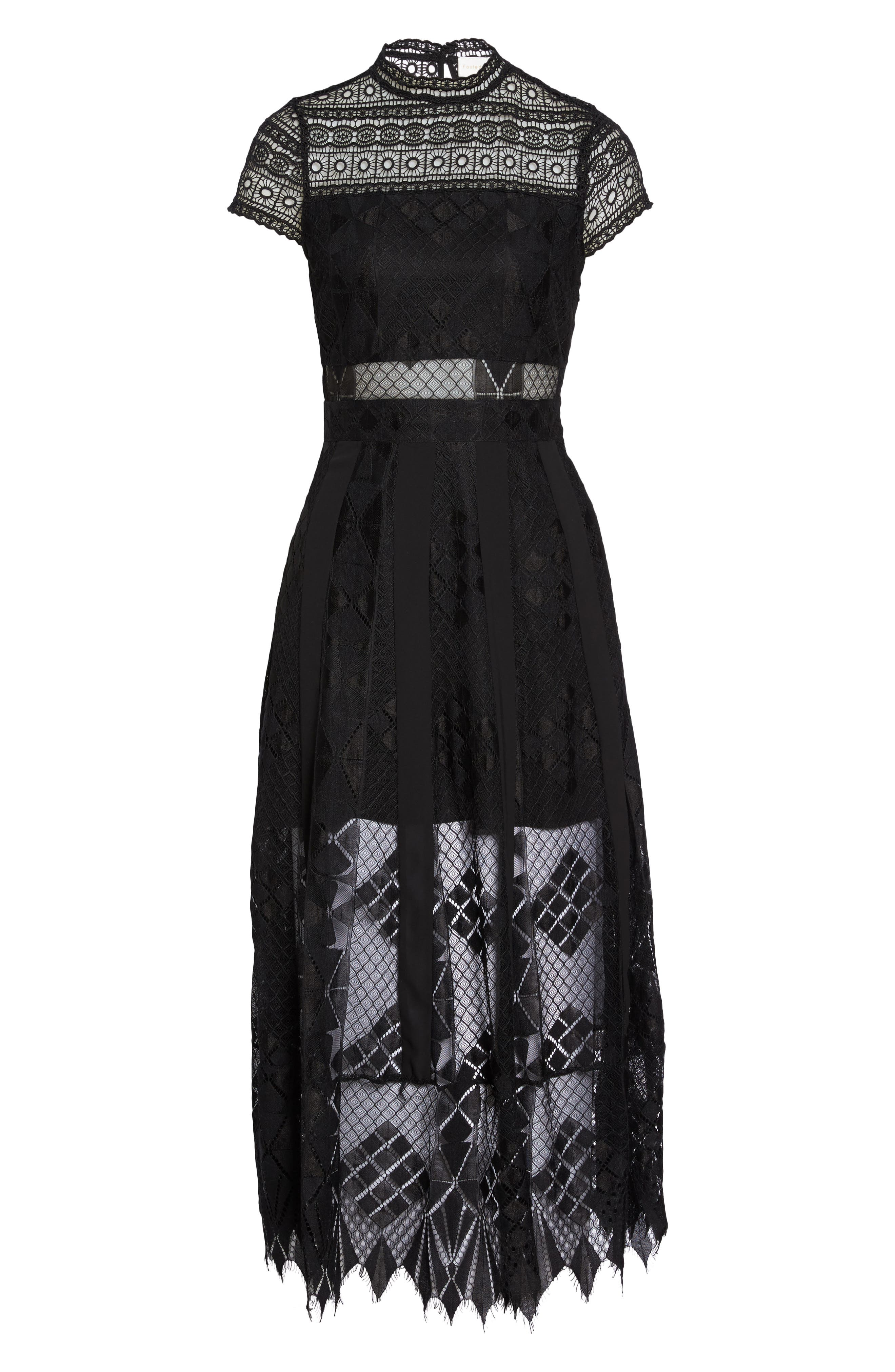 Calla Lace Midi Dress,                             Alternate thumbnail 6, color,                             Black