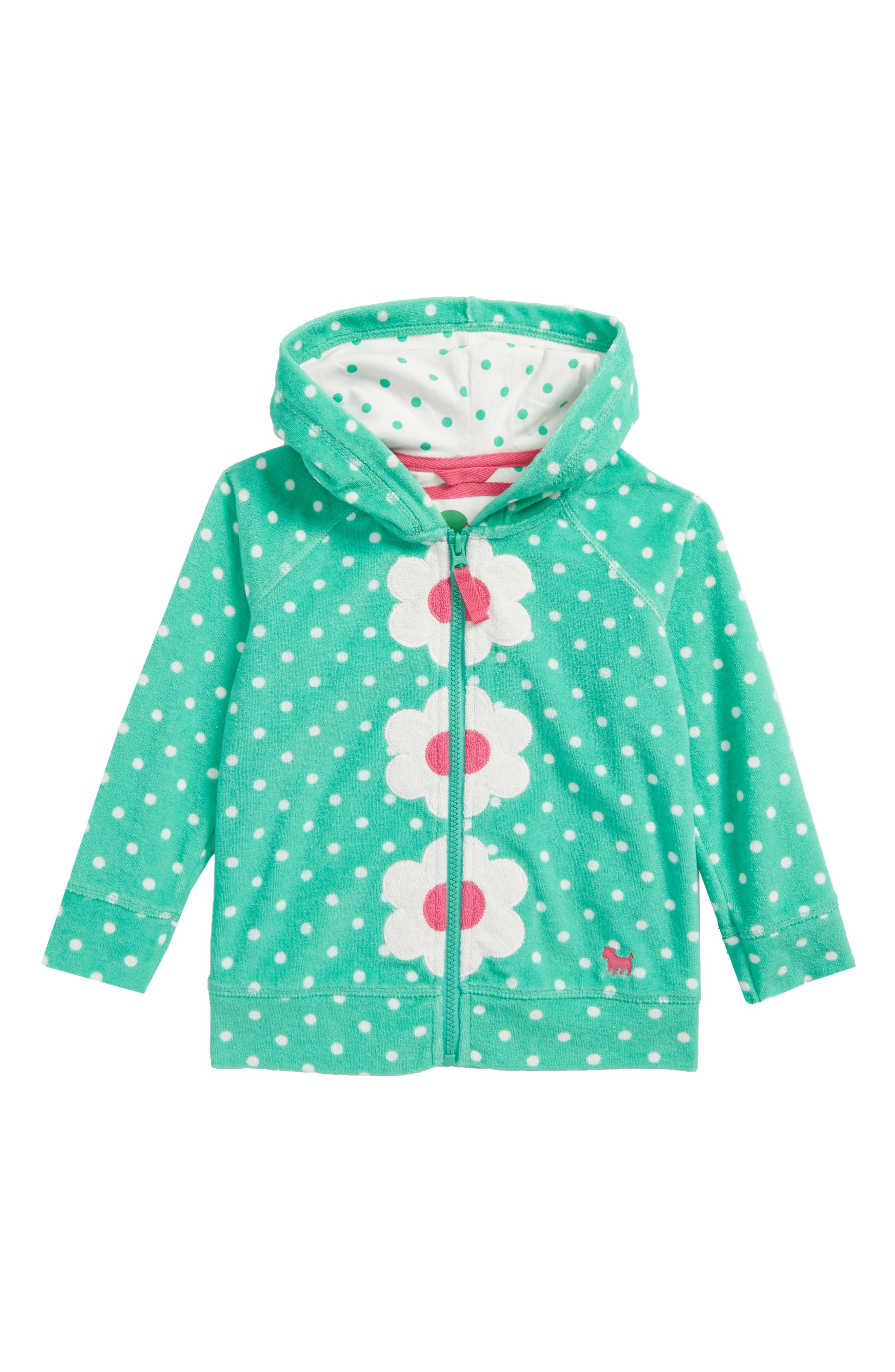 Toweling Hoodie,                         Main,                         color, Summer Green/ Ivory Spot