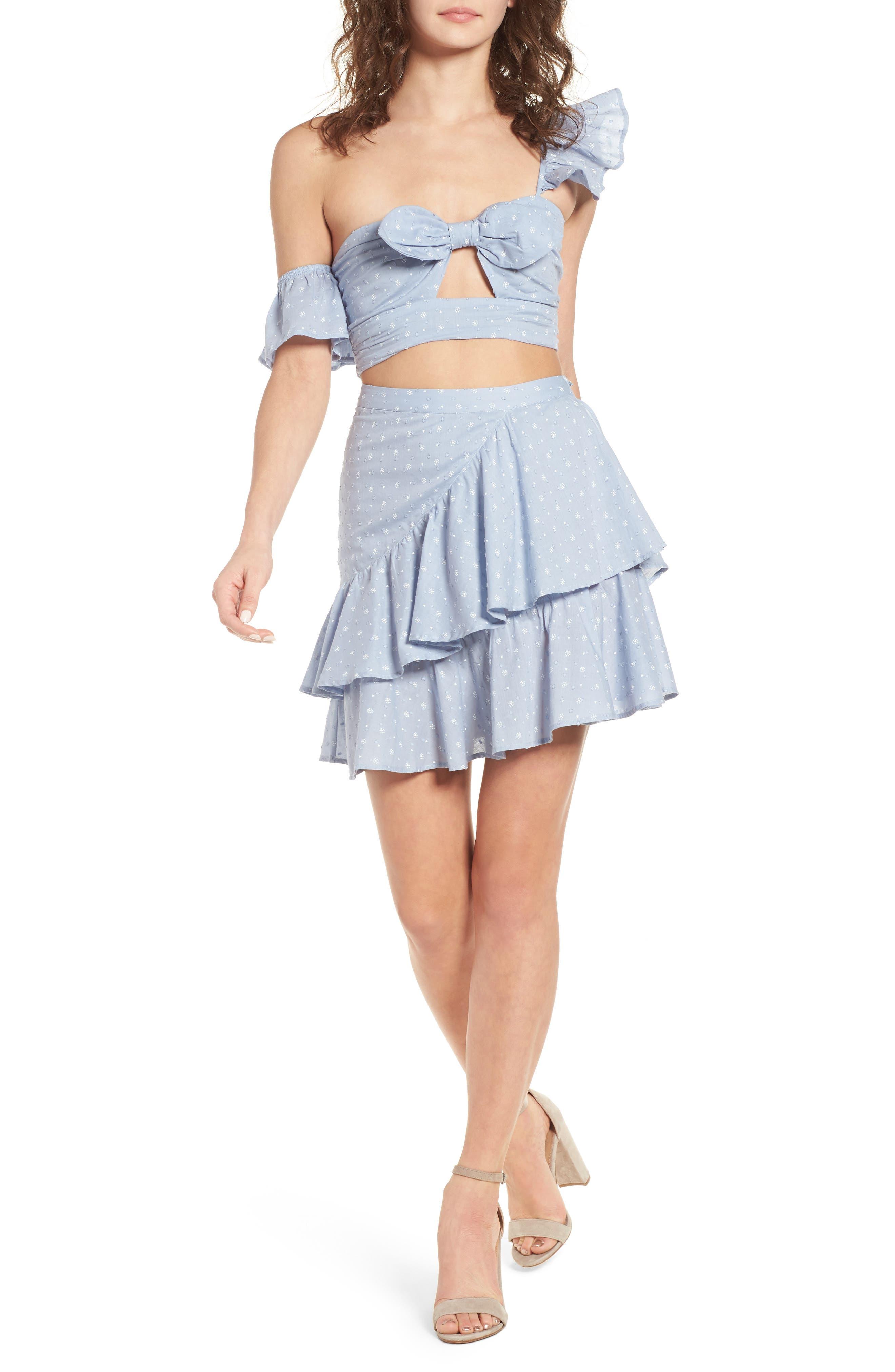 Mara Ruffled Miniskirt,                             Alternate thumbnail 2, color,                             Sail Blue