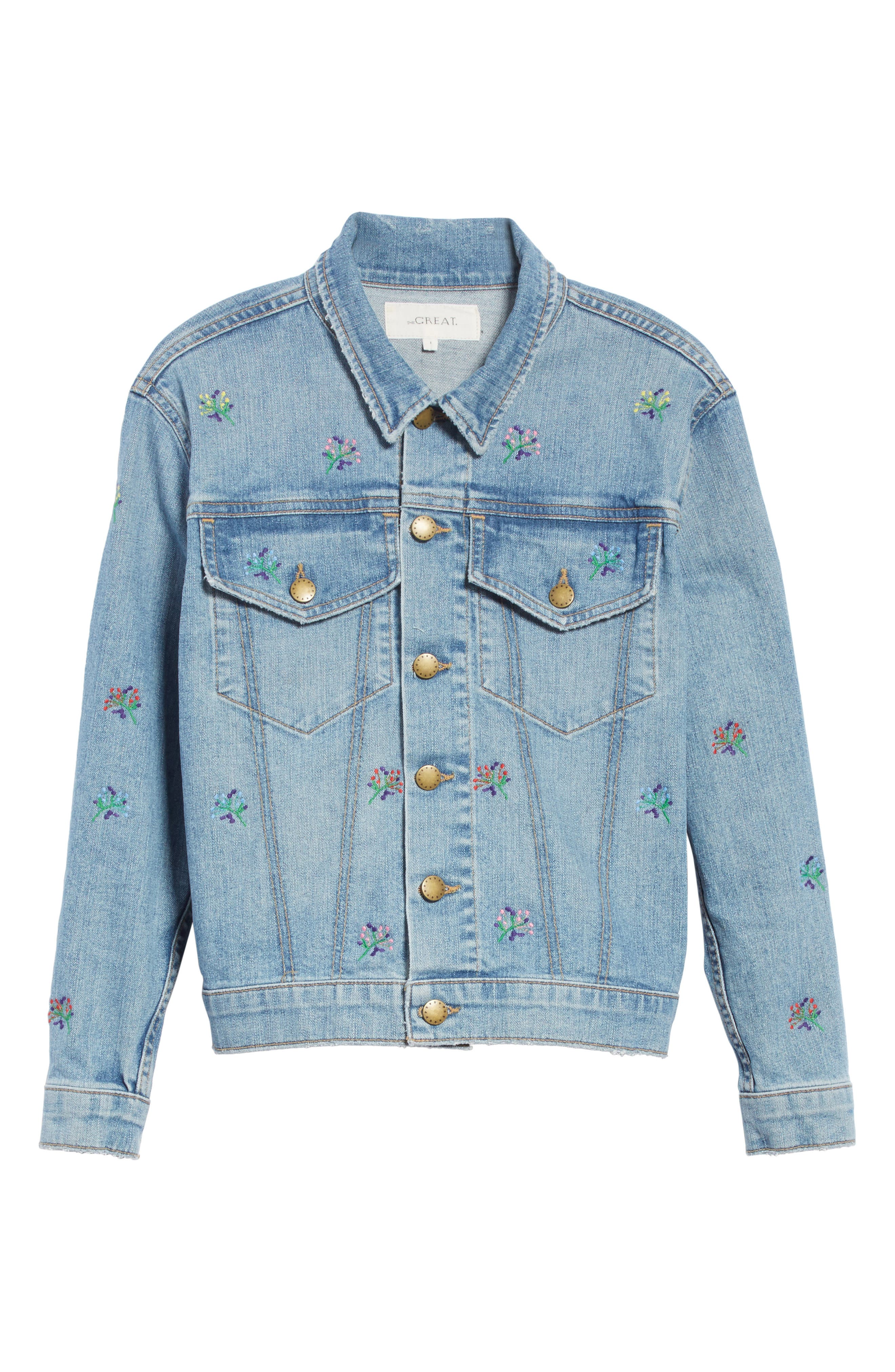The Boxy Jean Jacket,                             Alternate thumbnail 6, color,                             Canteen Wash W/ Flower Emb